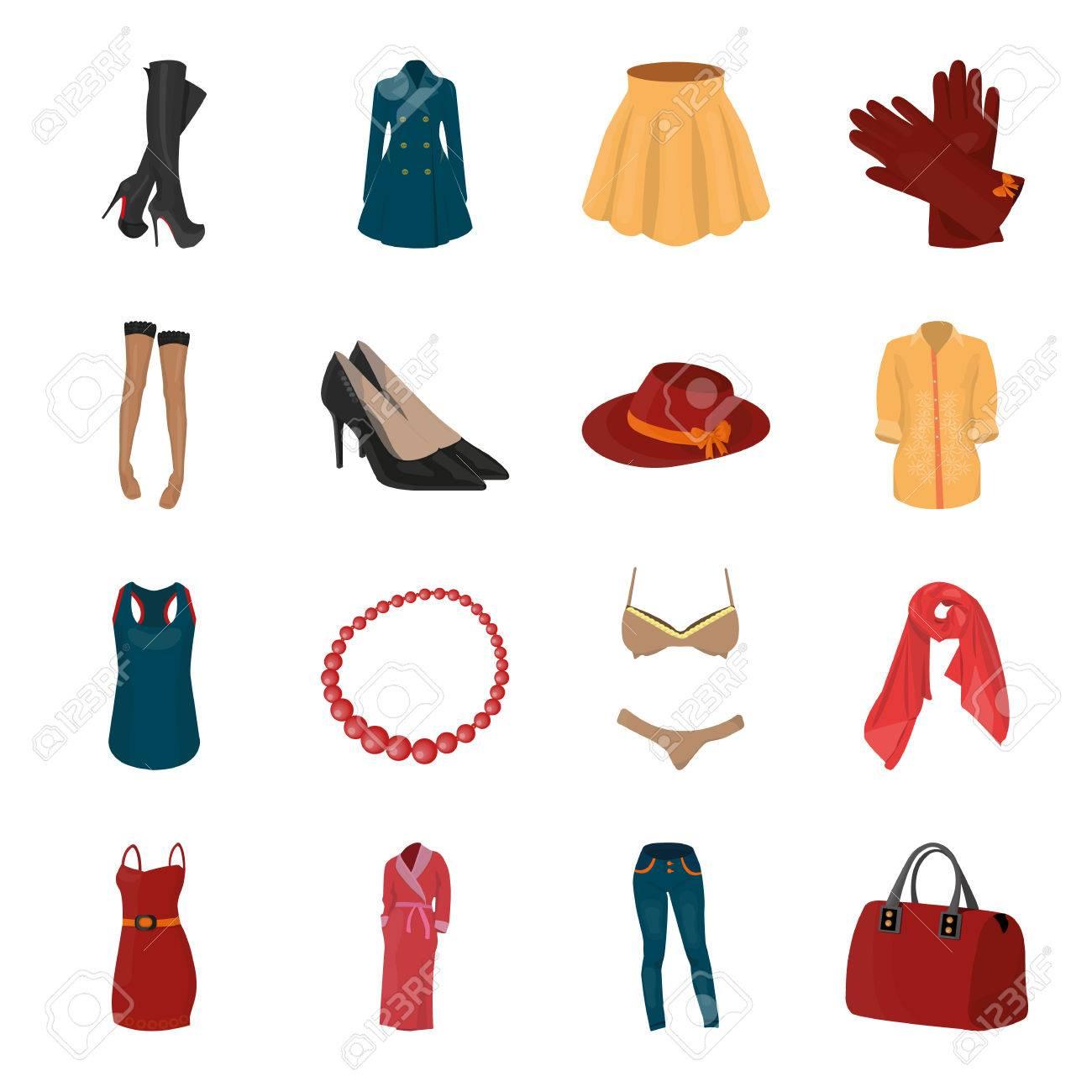 Vestido Sujetador Zapatos Ropa Para Mujer Conjunto De Ropa De Mujer Iconos De Colección En Estilo De Dibujos Animados Símbolo De Vector Stock Photography Web Ilustraciones Vectoriales Clip Art Vectorizado Libre De
