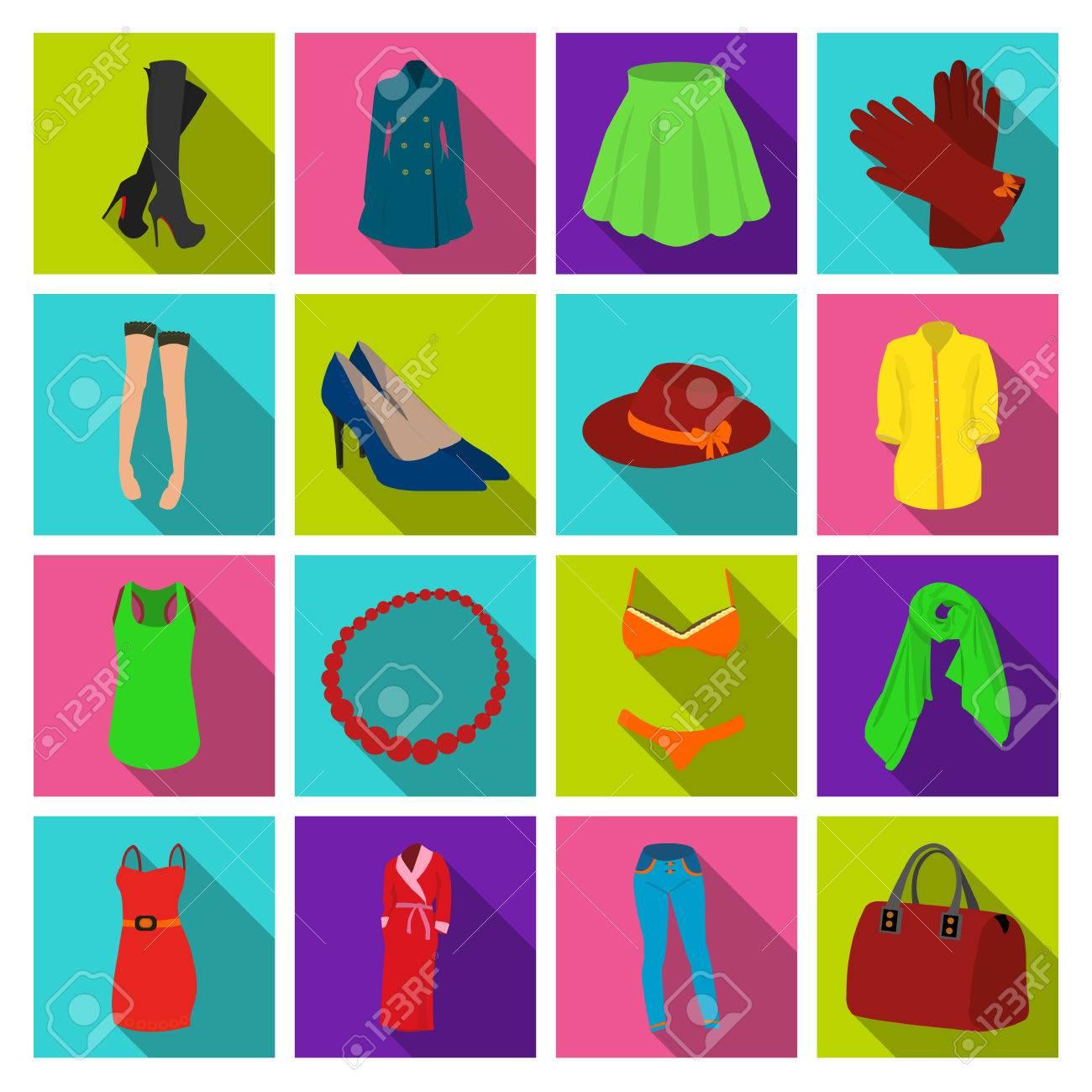1594431538f Colección de ropa de mujer iconos de colección en estilo vectorial símbolo  plano stock photography web.
