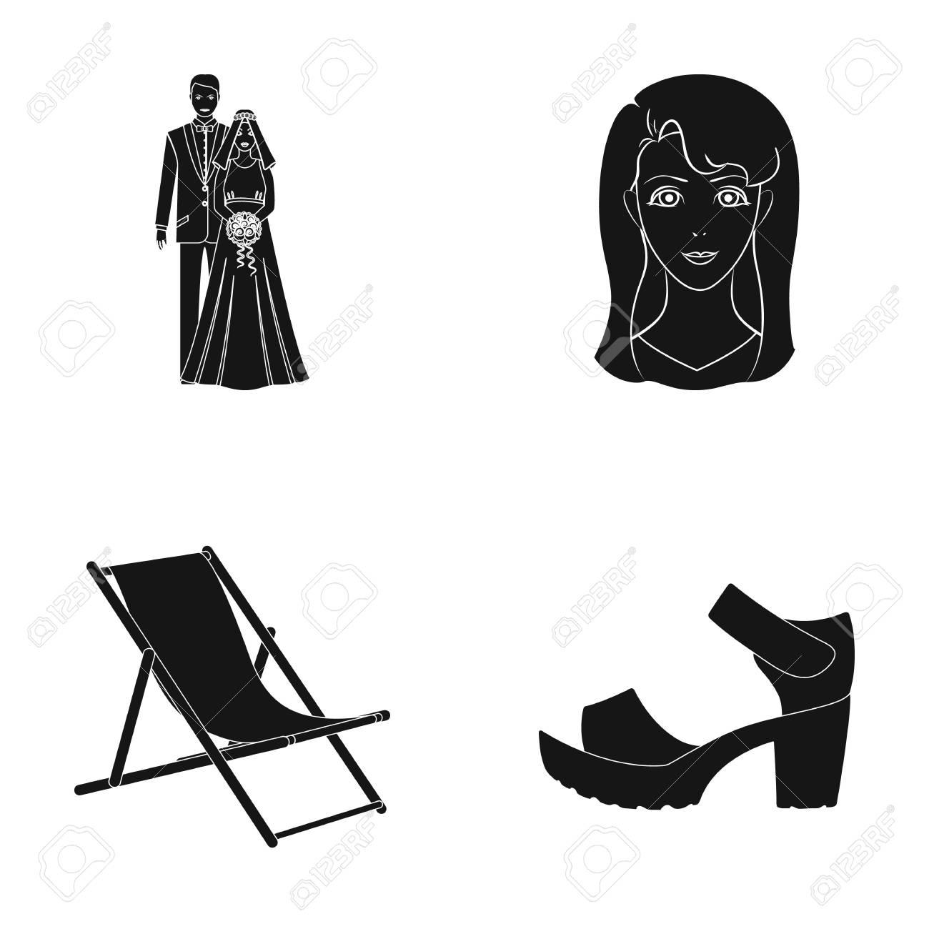 stijl, bruid, schoen, pictogram, witte , spotprent