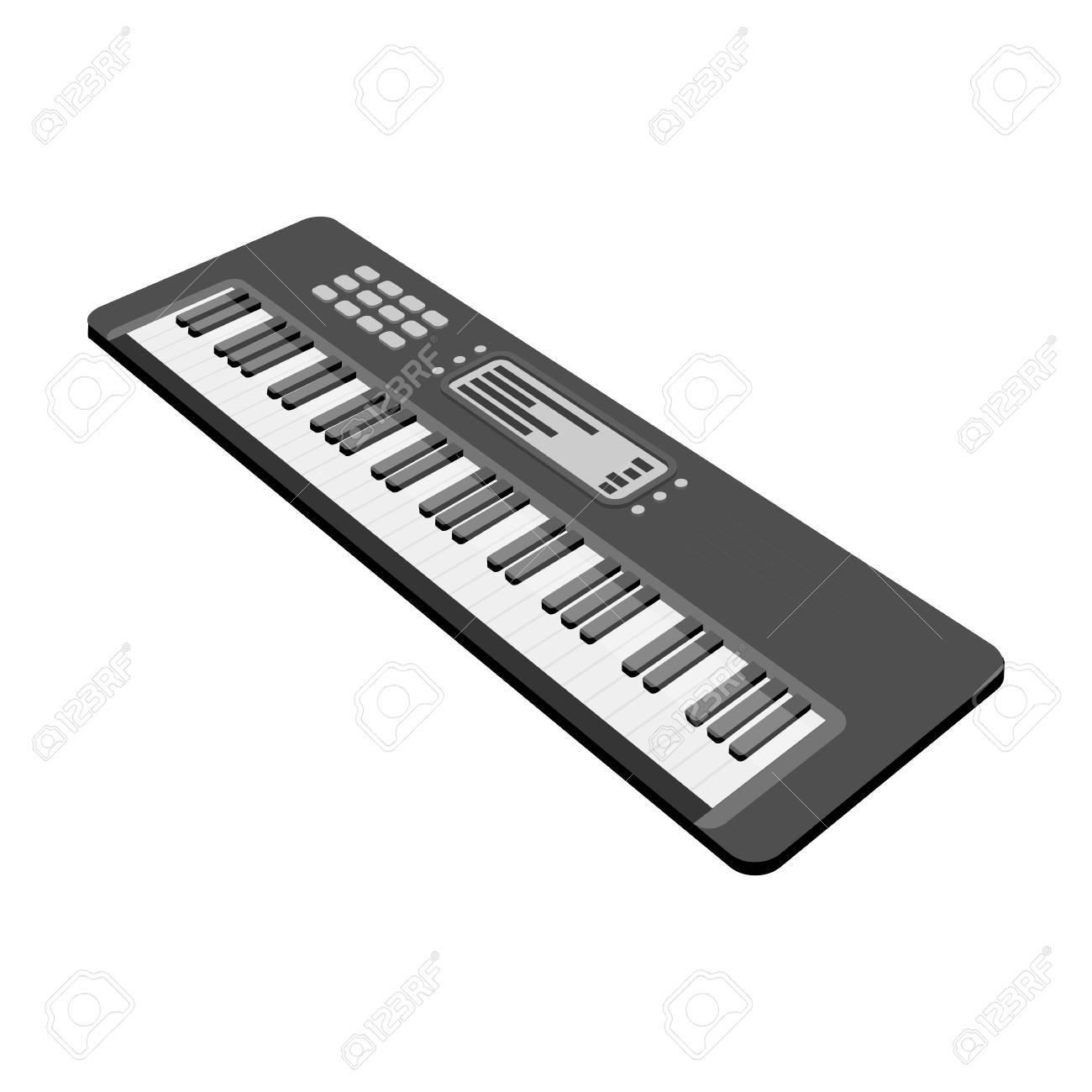 a1b222d88673a Foto de archivo - Teclado instrumento musical electrónico. Sintetizador de  melodía solo icono en dibujos animados estilo vector símbolo stock  ilustración ...