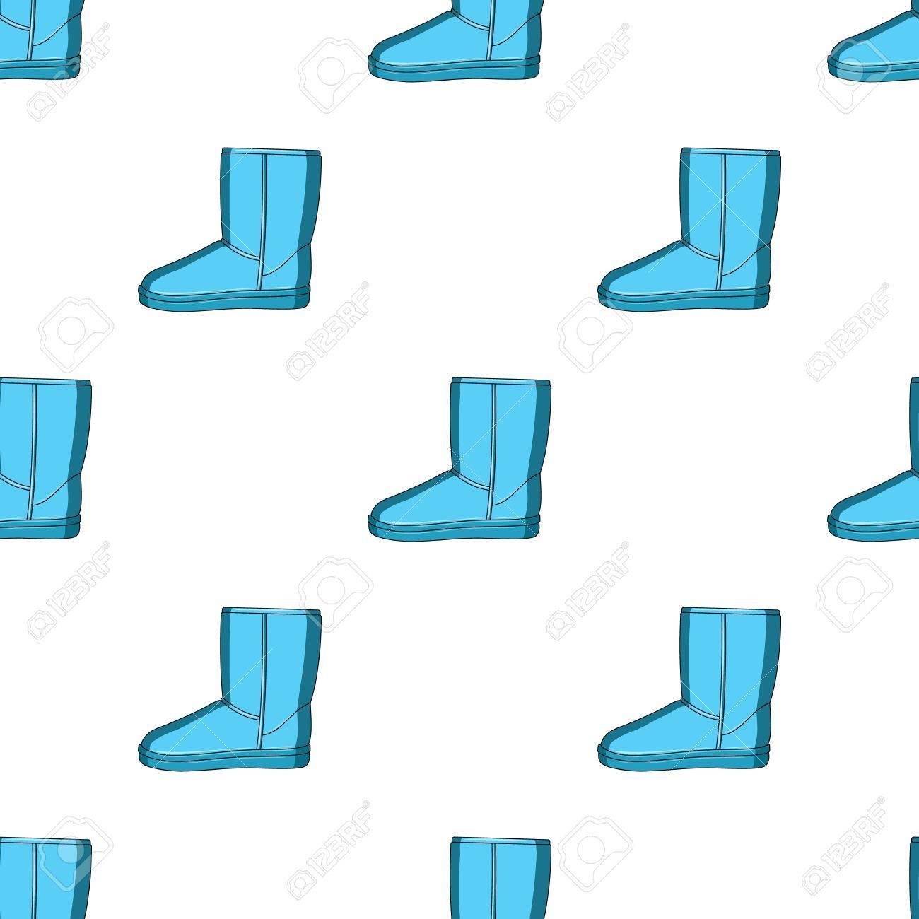 Botas de invierno ugg azul cálido. Zapatos cómodos de invierno para el uso diario. Diferentes zapatos único icono en estilo de dibujos animados vector