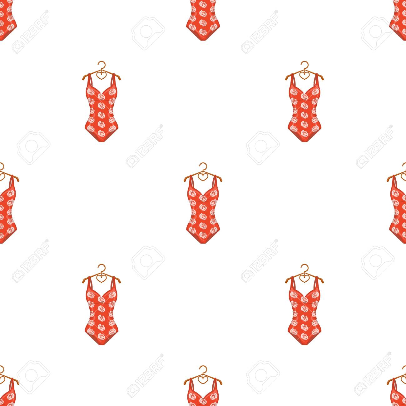b921e7536c4 Crashing red swimsuit with a print of roses. Beach wear.Swimcuits single  icon in