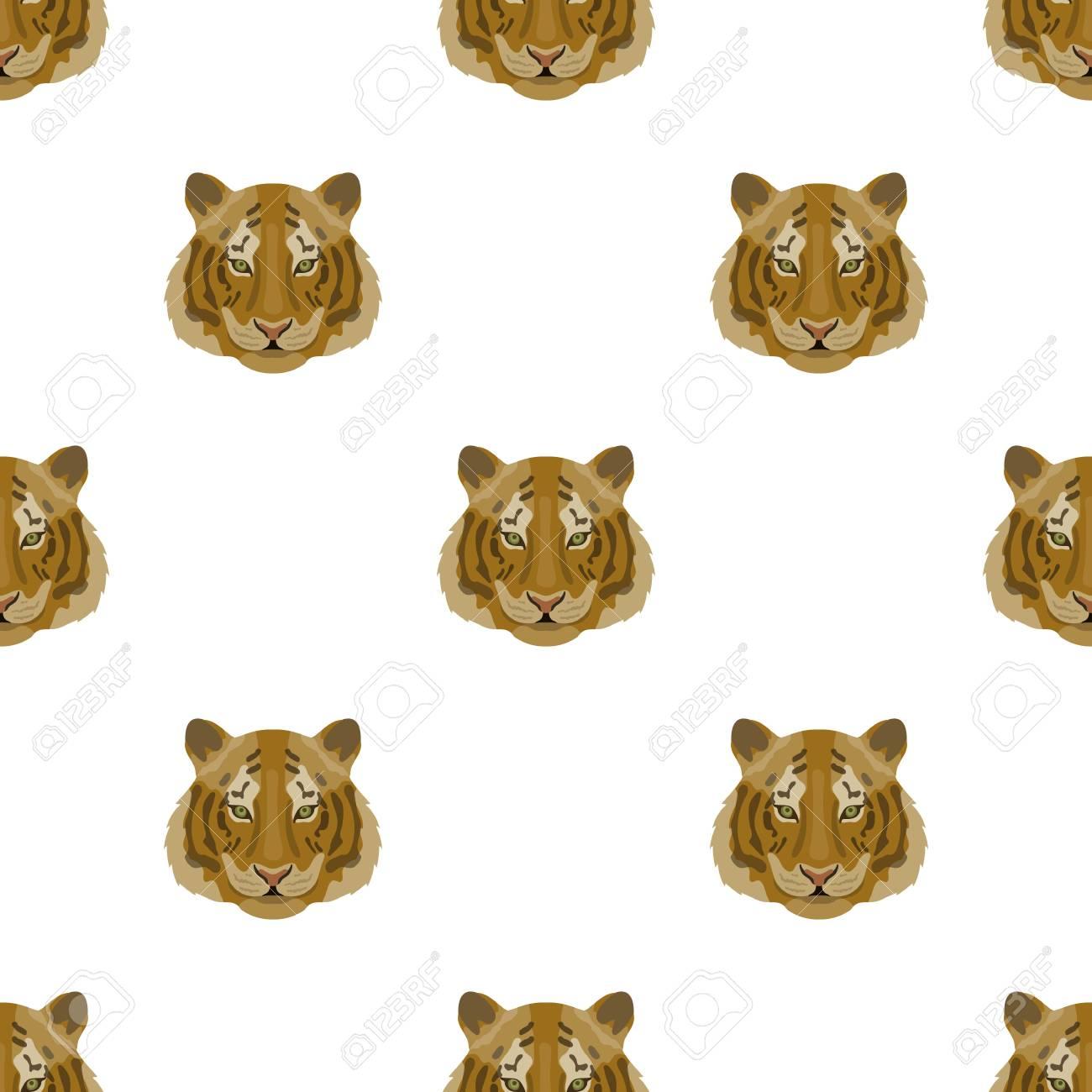 Icone De Tigre En Dessin Anime Isole Sur Fond Blanc Animaux
