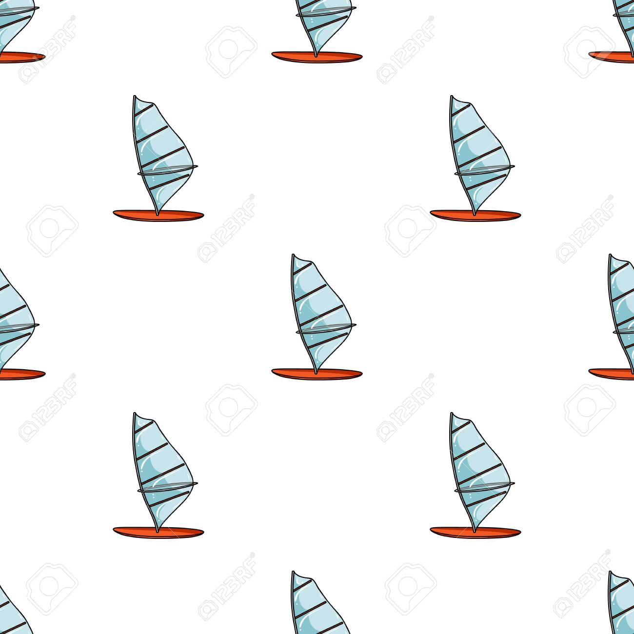 Windsurf board icon in cartoon style isolated on white background