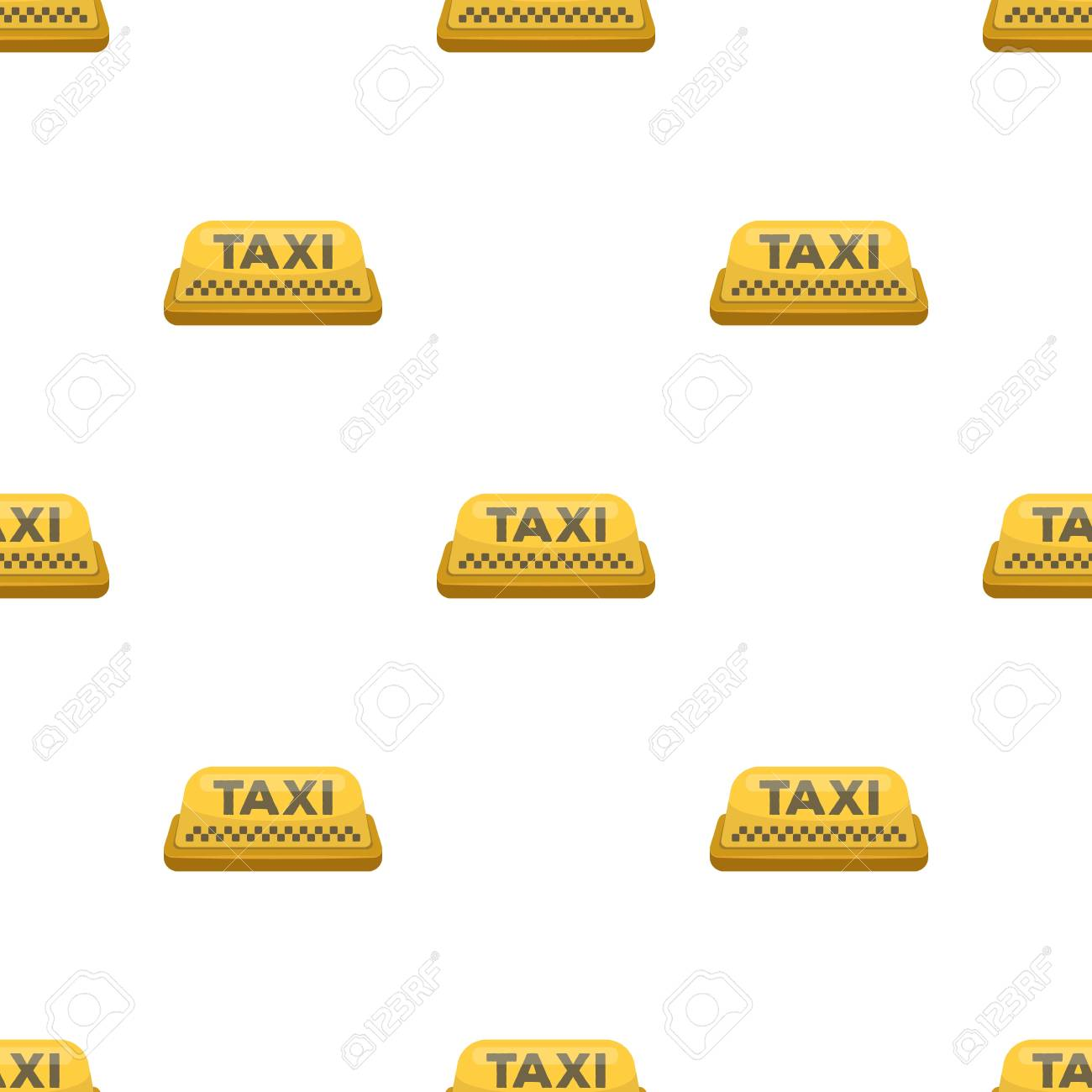 Yellow checker taxi with logo Equipment taxi station for identification