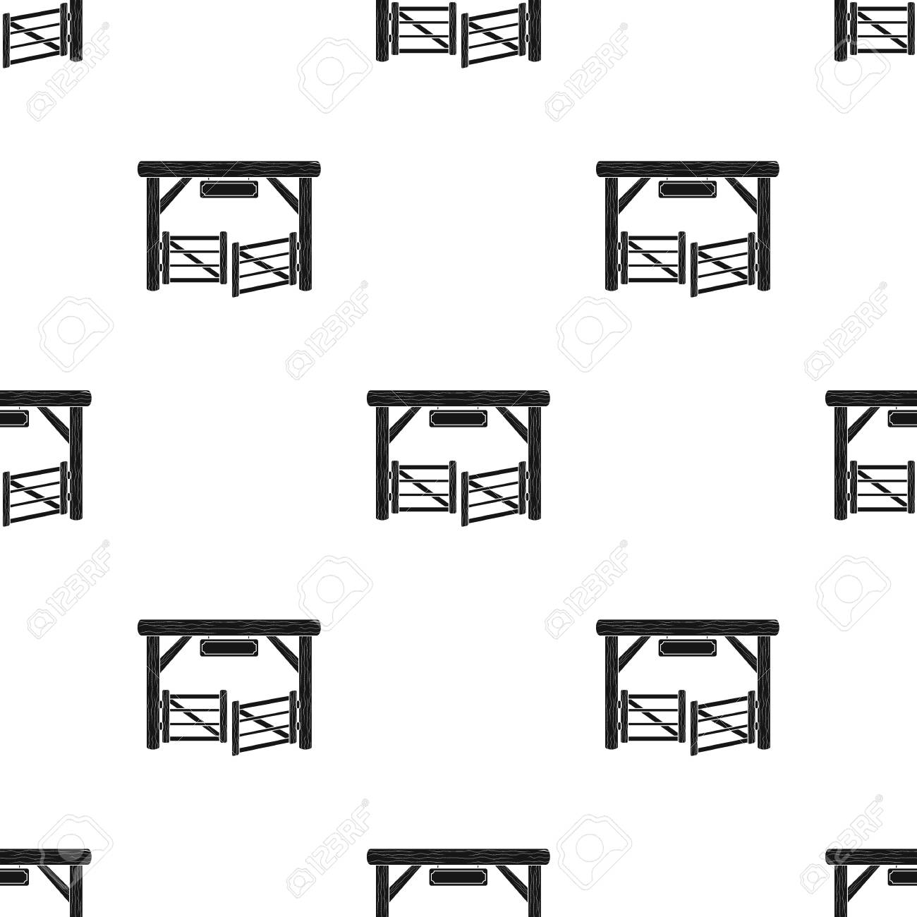 Paddock Gate Icon In Black Design Isolated On White Background And Symbol Rodeo Stock Vector Illustration