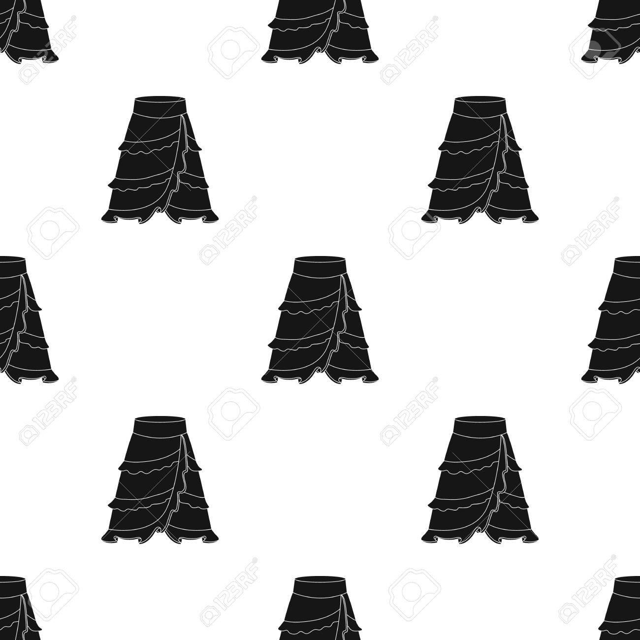 f1c3f72986873 Foto de archivo - Icono de falda de flamenco en diseño negro aislado sobre  fondo blanco. España símbolo del país stock ilustración vectorial.