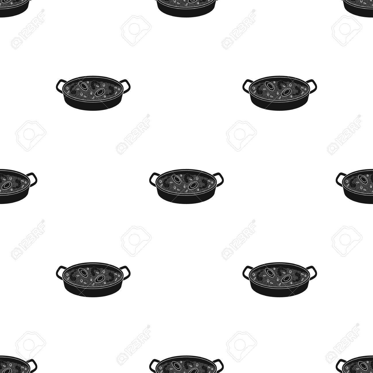 3803fe91cc2ab Foto de archivo - Icono de Paella en diseño negro aislado sobre fondo  blanco. España símbolo del país stock ilustración vectorial.