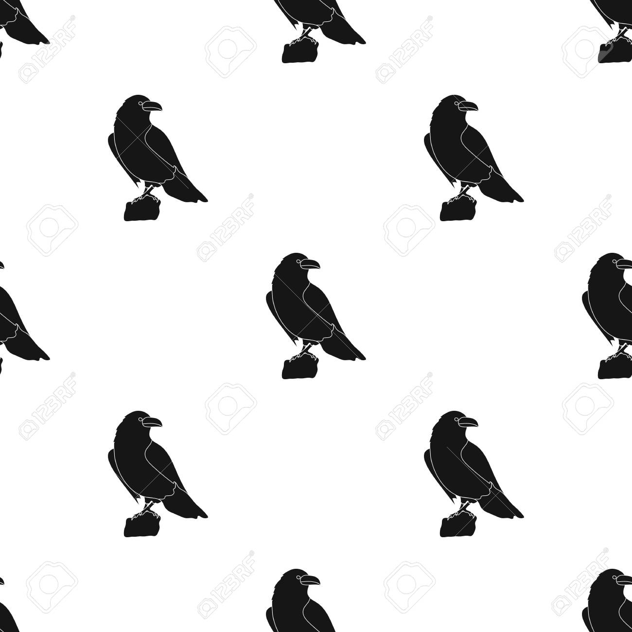 Crow Of Viking God Icon In Black Style Isolated On White Background