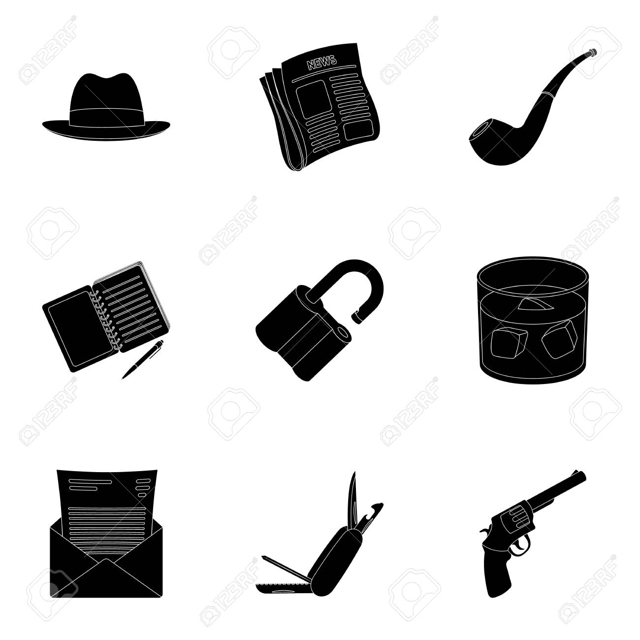 Pistol tube identification magnifier and other attributes pistol tube identification magnifier and other attributes detective set collection icons in buycottarizona