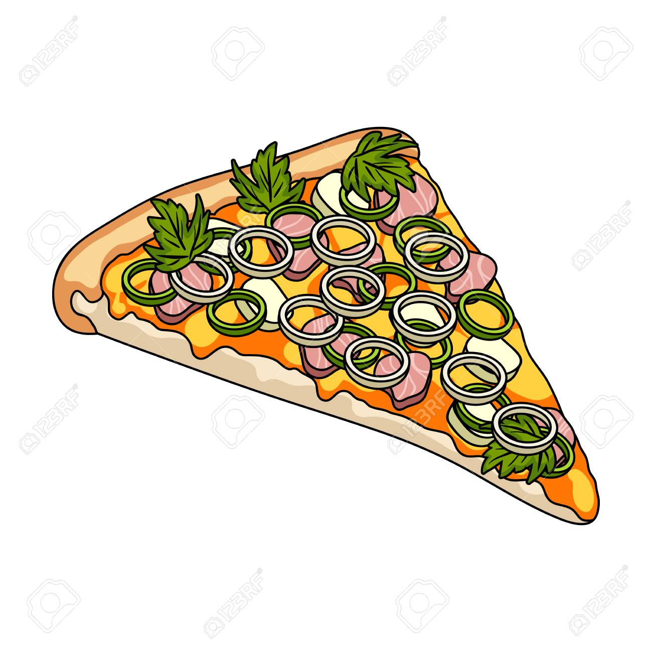 a slice of pizza with different ingredients different pizza rh 123rf com Sliced Mushroom Clip Art Good Eats Clip Art