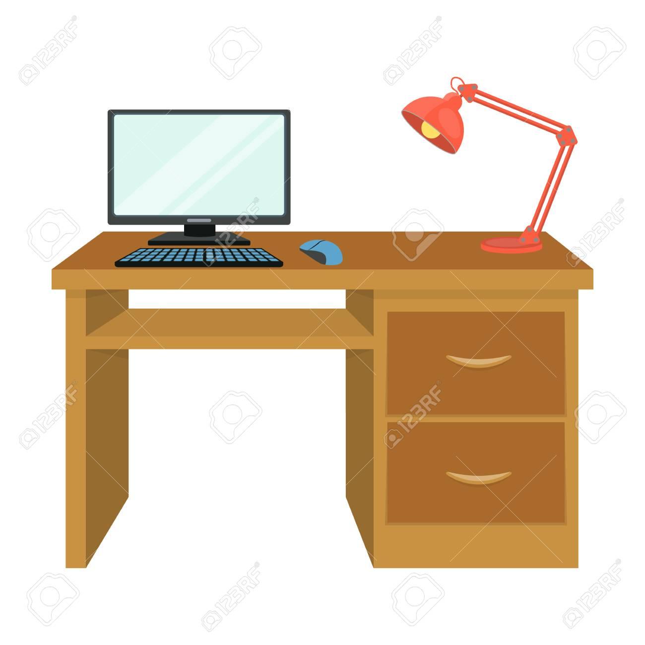 Ein Schreibtisch Mit Einem Computer Und Einer Schreibtischlampe