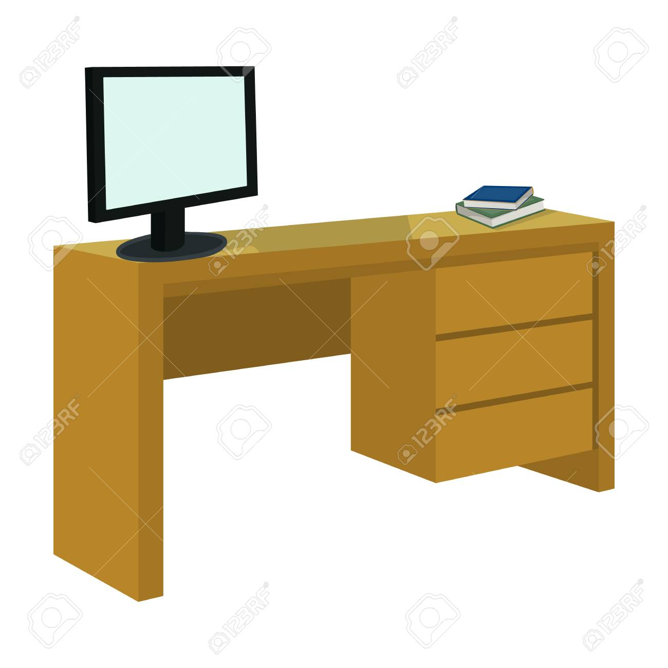 Ein Schreibtisch Mit Einem Computer Und Büchern Einzelne Ikone Der