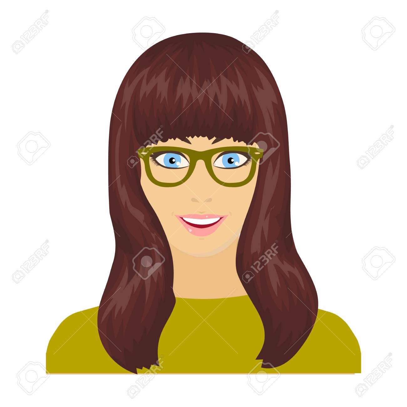 The girls face is wearing glasses face and appearance single icon in cartoon style vector