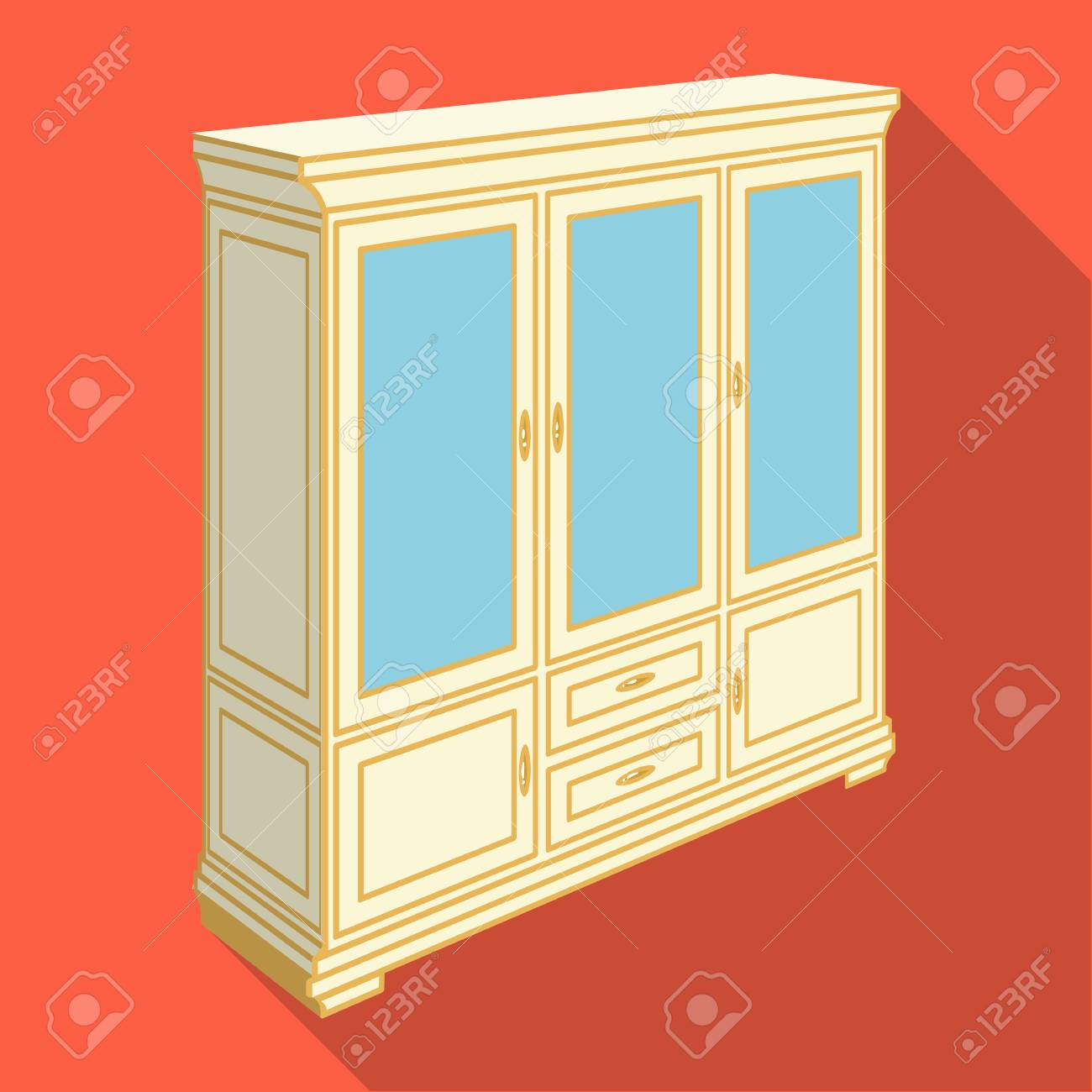 Kast Met Glazen Deuren En Laden Meubels En Interieur één Pictogram In Vlakke Stijl Vector Isometrische Symbool Stock Illustratie
