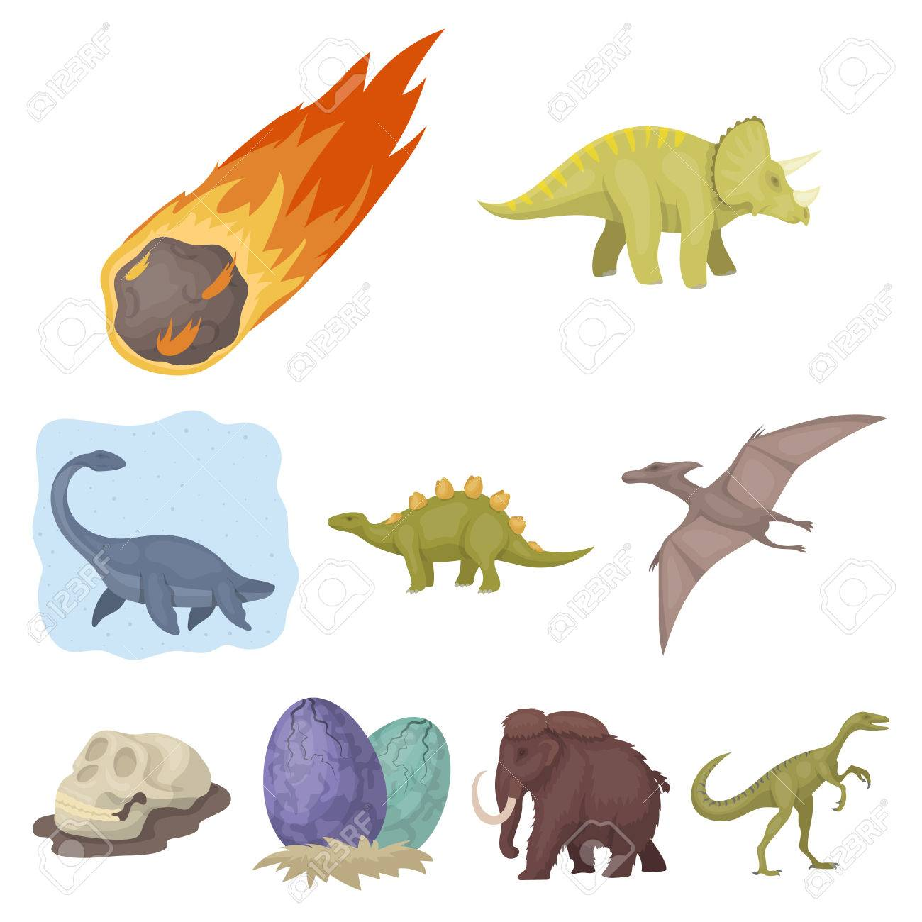 Image of: Vector Image Ancient Extinct Animals And Their Tracks And Remains Dinosaurs Tyrannosaurs Pnictosaursdinisaurs 123rfcom Ancient Extinct Animals And Their Tracks And Remains Dinosaurs