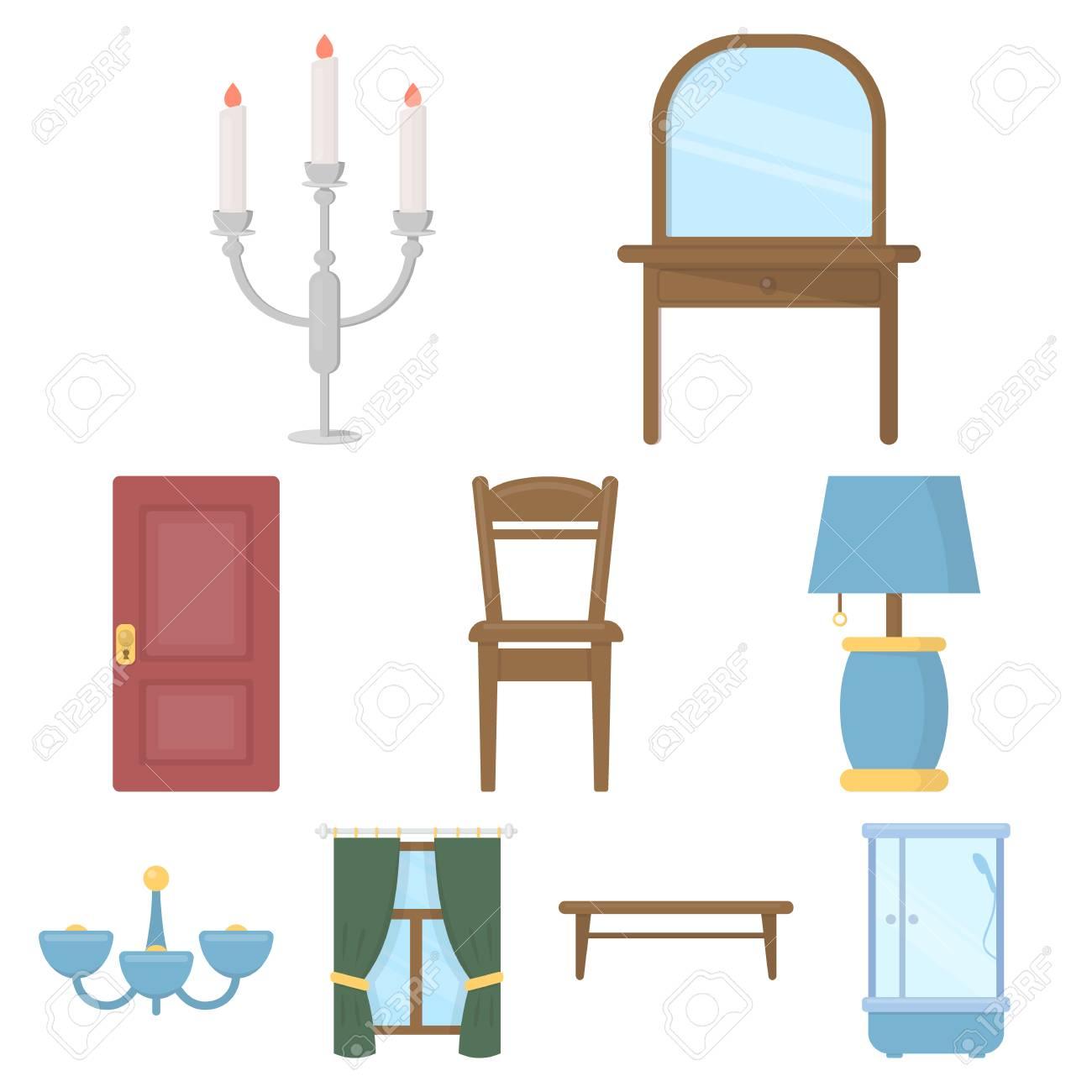 Muebles Set Iconos En Estilo De Dibujos Animados Gran Colecci N  # Muebles Dibujos Animados