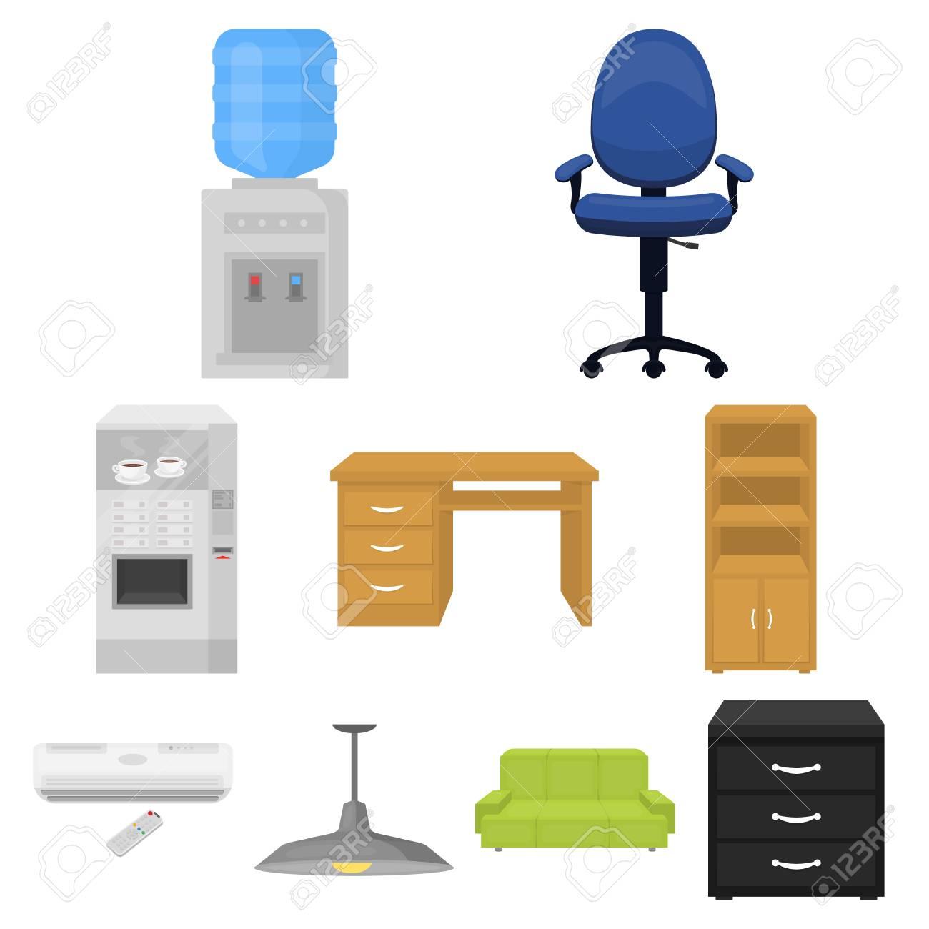 Diseno Muebles Para Oficina.Muebles De Oficina Y Muebles Iconos Conjunto En Diseno De Dibujos Animados Gran Coleccion De Muebles De Oficina Y Simbolo De Stock Ilustracion