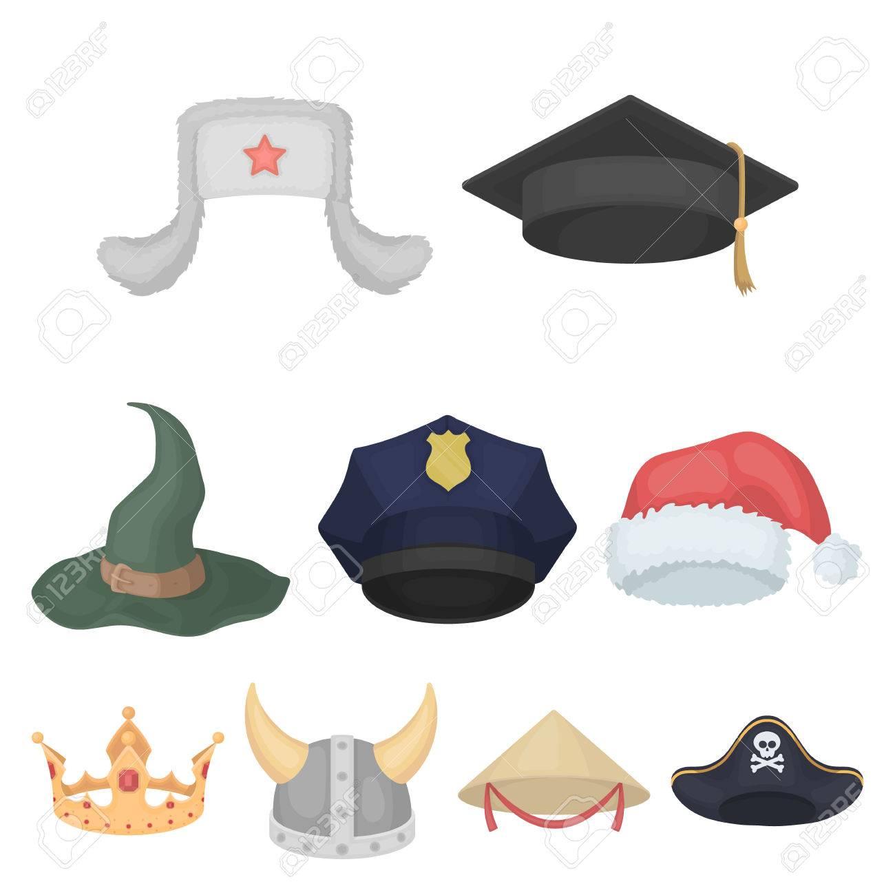 Foto de archivo - Sombreros establecer iconos en estilo de dibujos  animados. Gran colección de sombreros vector de símbolo stock photo 433d0cddd38