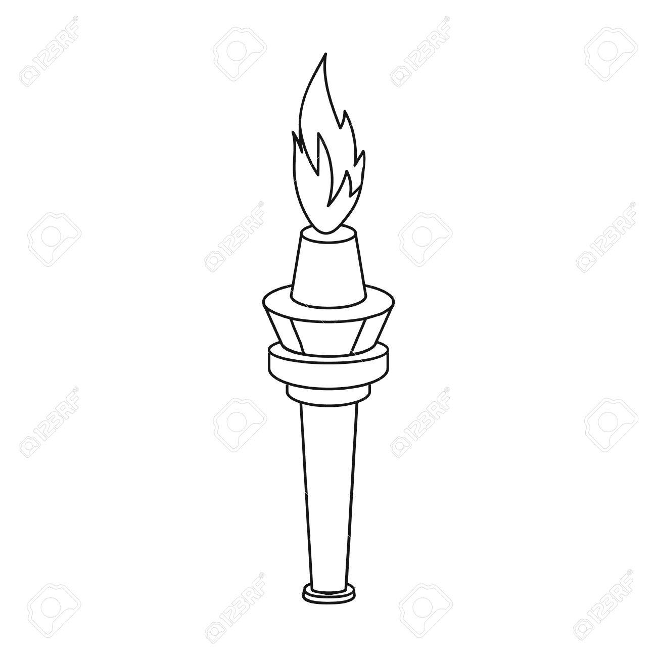 Simple Street Lamp In The Form Of A Torch With An Open Single Icon Fire Drawing
