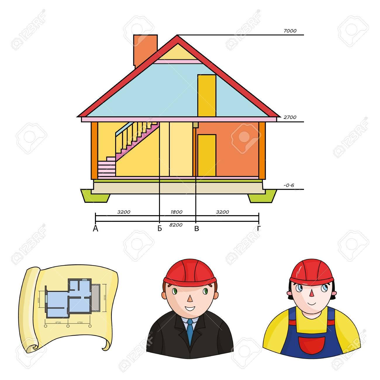 Banque dimages ingénieur constructeur ouvrier du bâtiment plan du site dessin technique de la maison architecture définie des icônes de la collection