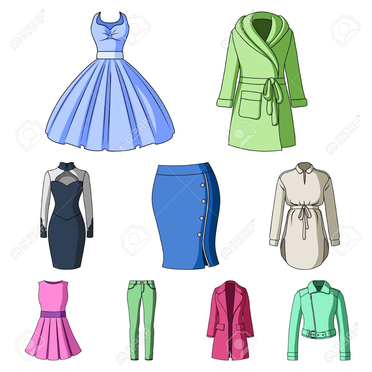f00f534cab8 Collection of icons of womens clothing. Various womens clothes for work