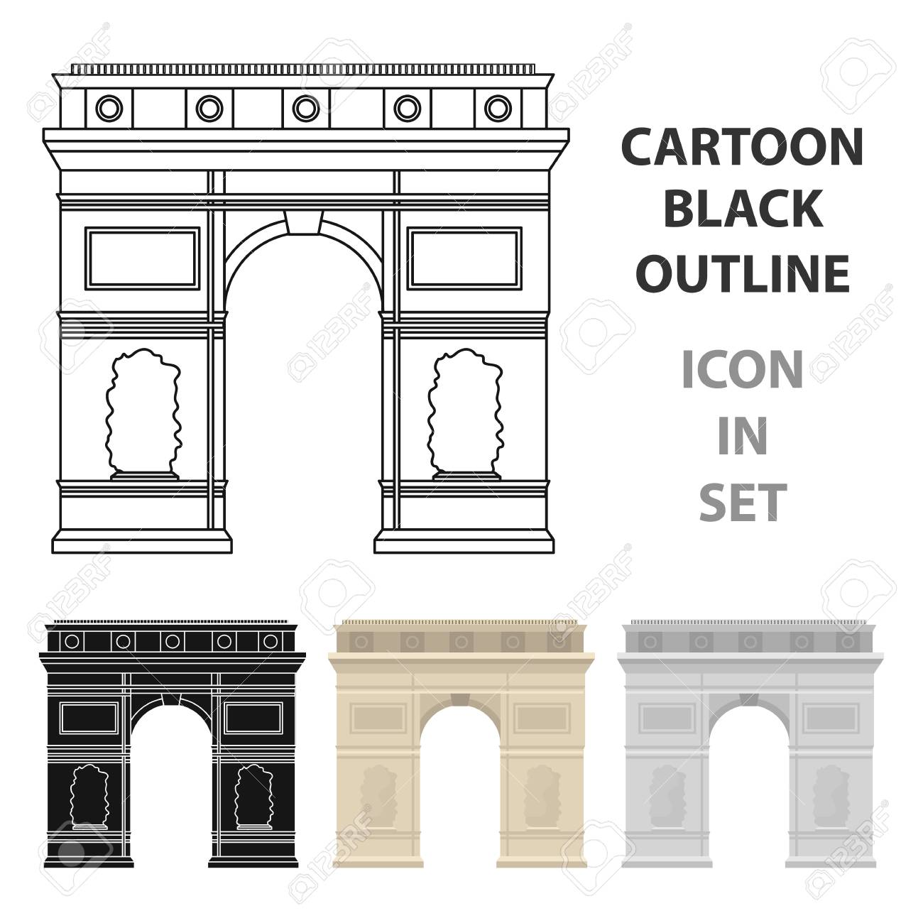 Icône Darc De Triomphe En Style Dessin Animé Isolé Sur Fond Blanc