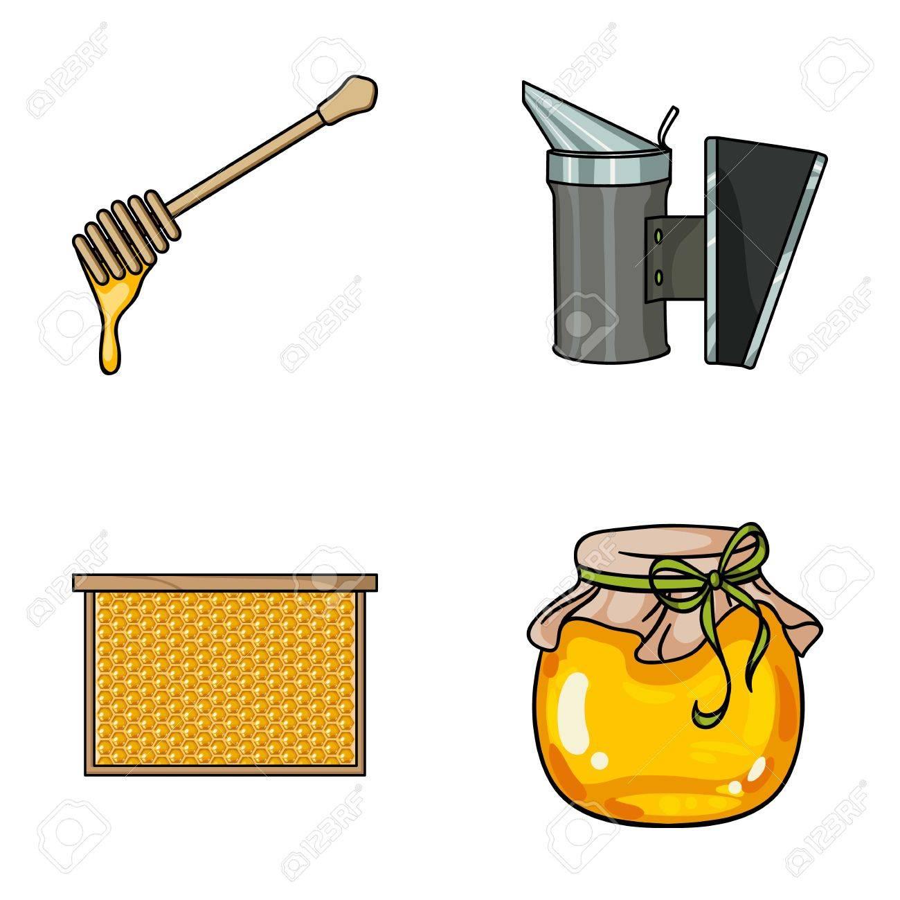 Ein Rahmen Mit Waben, Eine Schöpflöffel Honig, Ein Fumigator Von ...