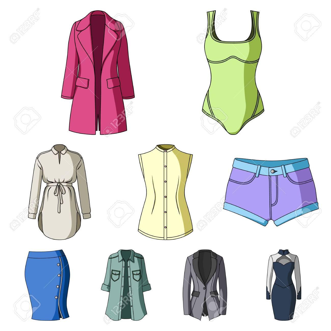 Colección De Iconos De Ropa De Mujer Varias Prendas De Vestir Para Mujeres Para El Trabajo Caminar Deportes Icono De Ropa De Mujer En La Colección