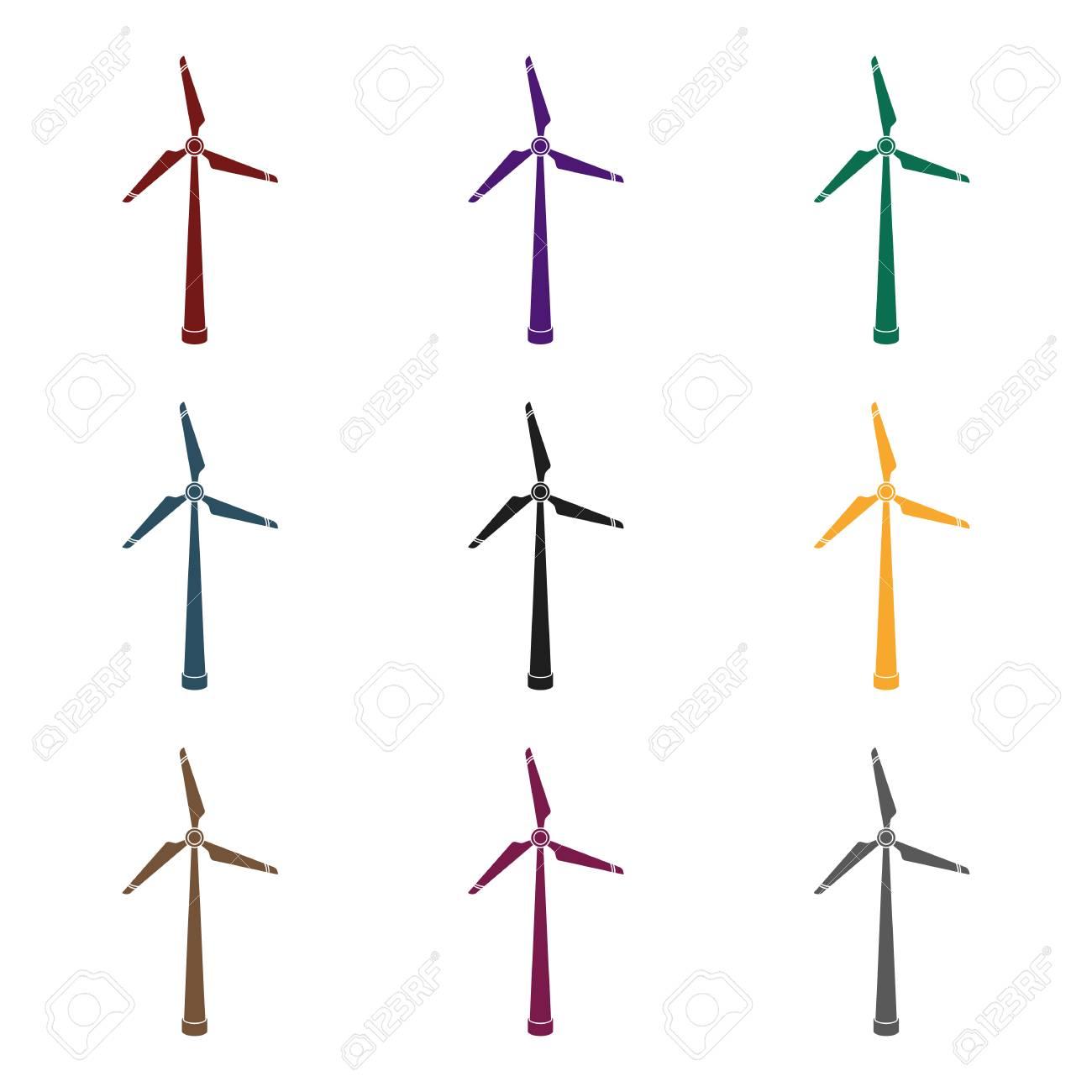 Wind Energy Turbine Icon In Black Style Isolated On White Background
