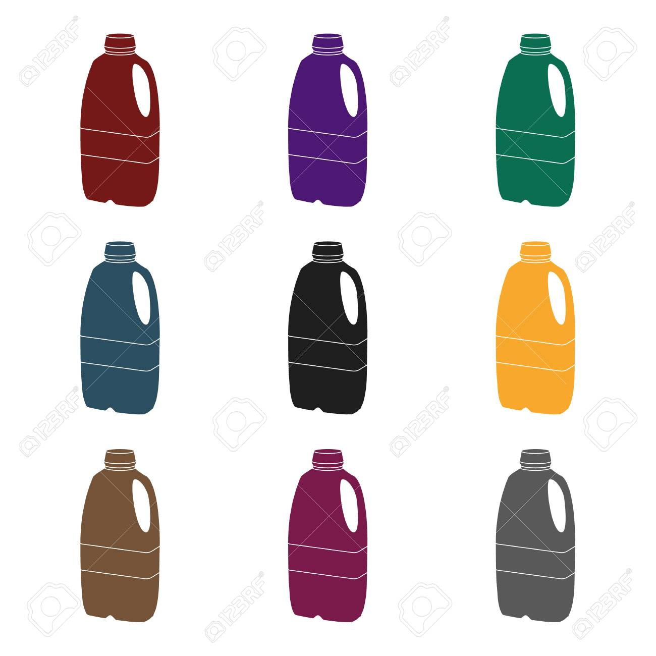 Gallon Plastic Milk Bottle Icon In Black Style Isolated On White