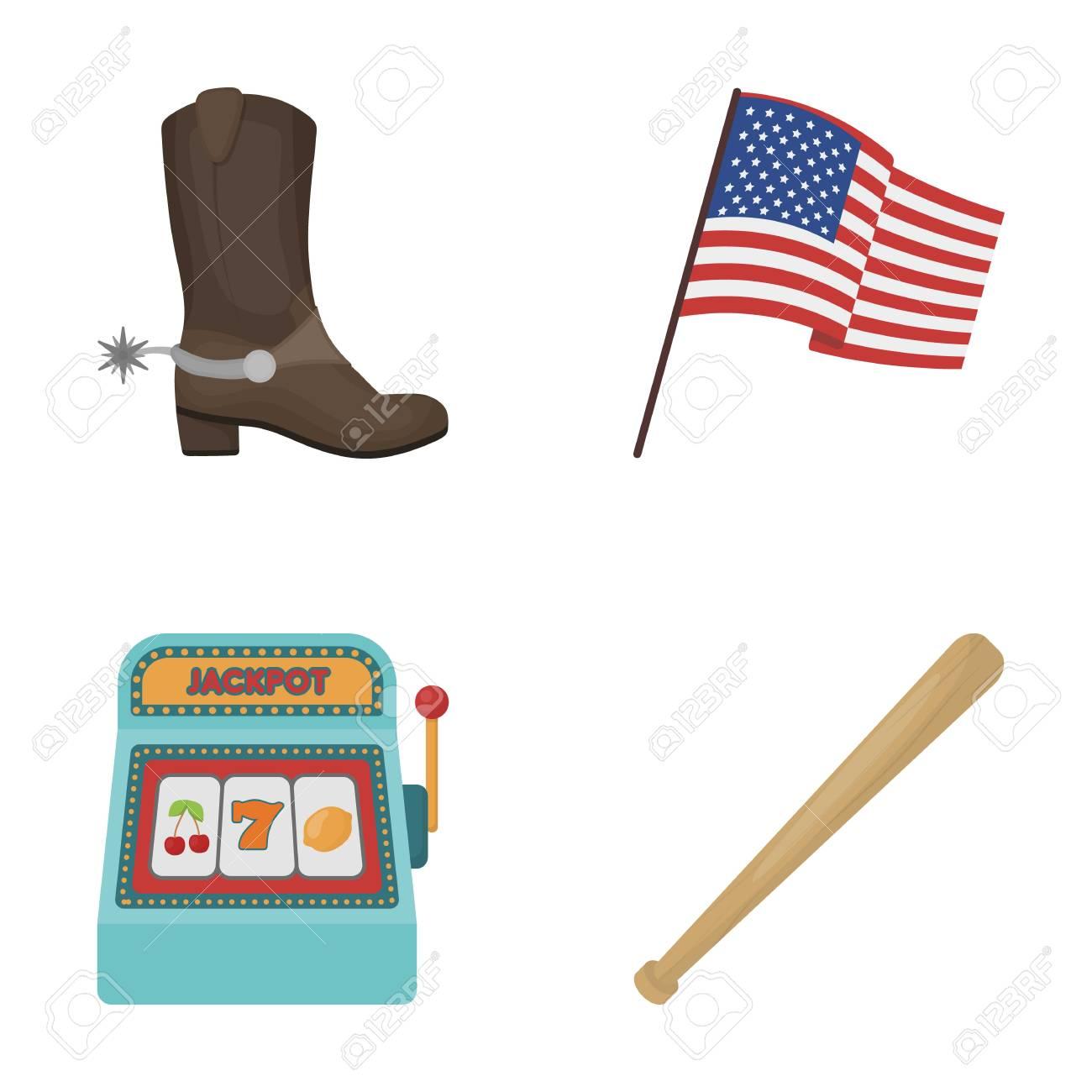 e15e498f7e2 Cowboy boots, national flag, slot machine, baseball bat. USA..