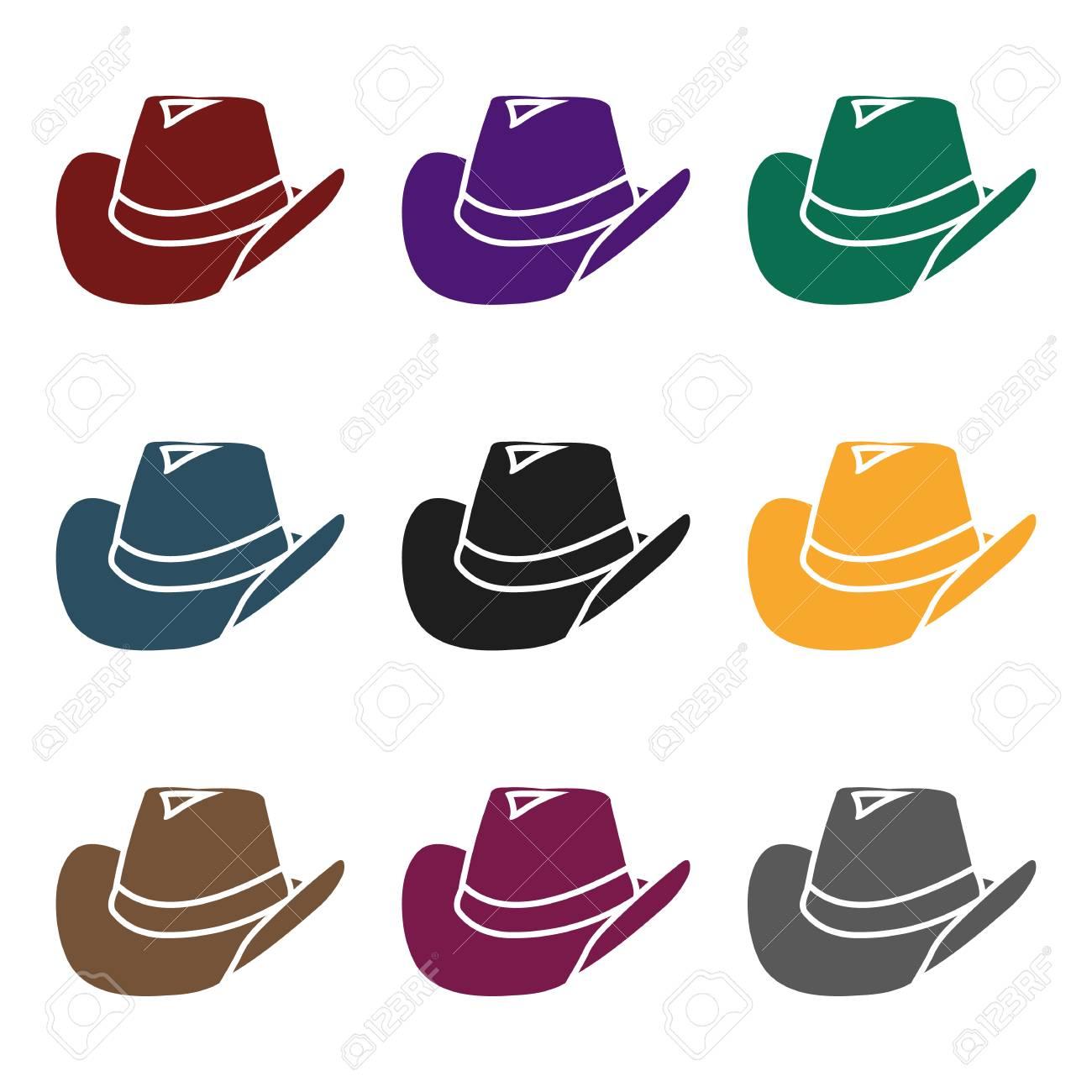 Foto de archivo - Icono de sombrero de vaquero en estilo negro aislado  sobre fondo blanco. Wlid oeste símbolo stock vector ilustración. 6d2b7afead4