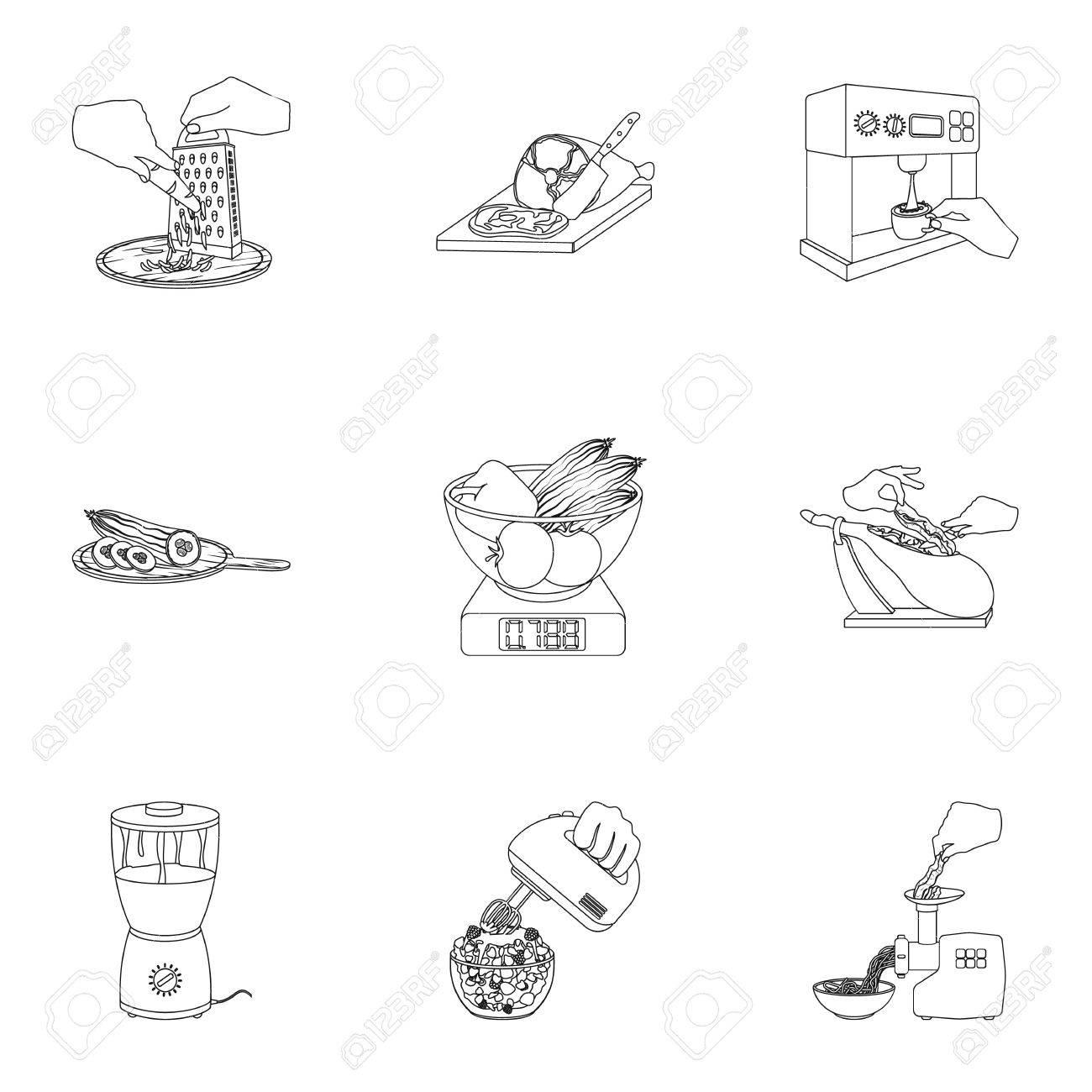 Koch Gerate Kuche Und Andere Symbol Im Umriss Style Stand Essen