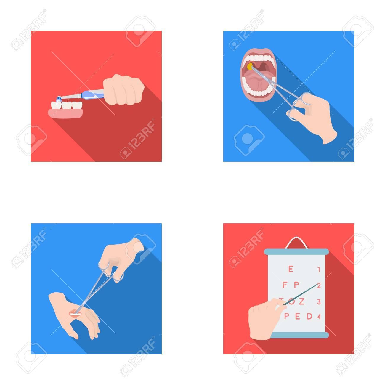 Banque d images - Soins dentaires, traitement des plaies et autre icône web  dans le traitement plat style.oral, icônes de test de vue dans la  collection de ... 8be0f09caffd