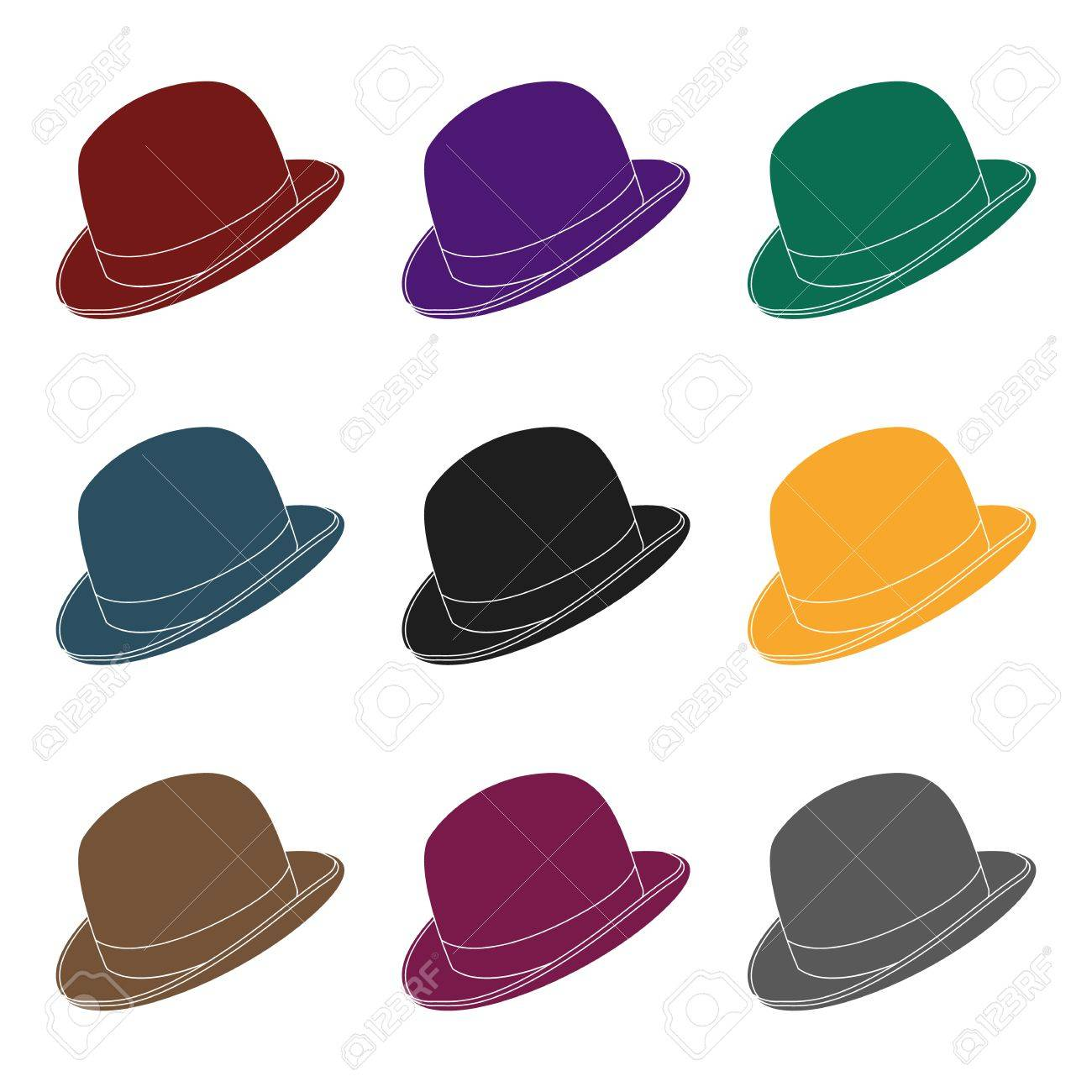 2b43b055de6 Bowler hat icon in black style isolated on white background. Hipster style  symbol stock vector