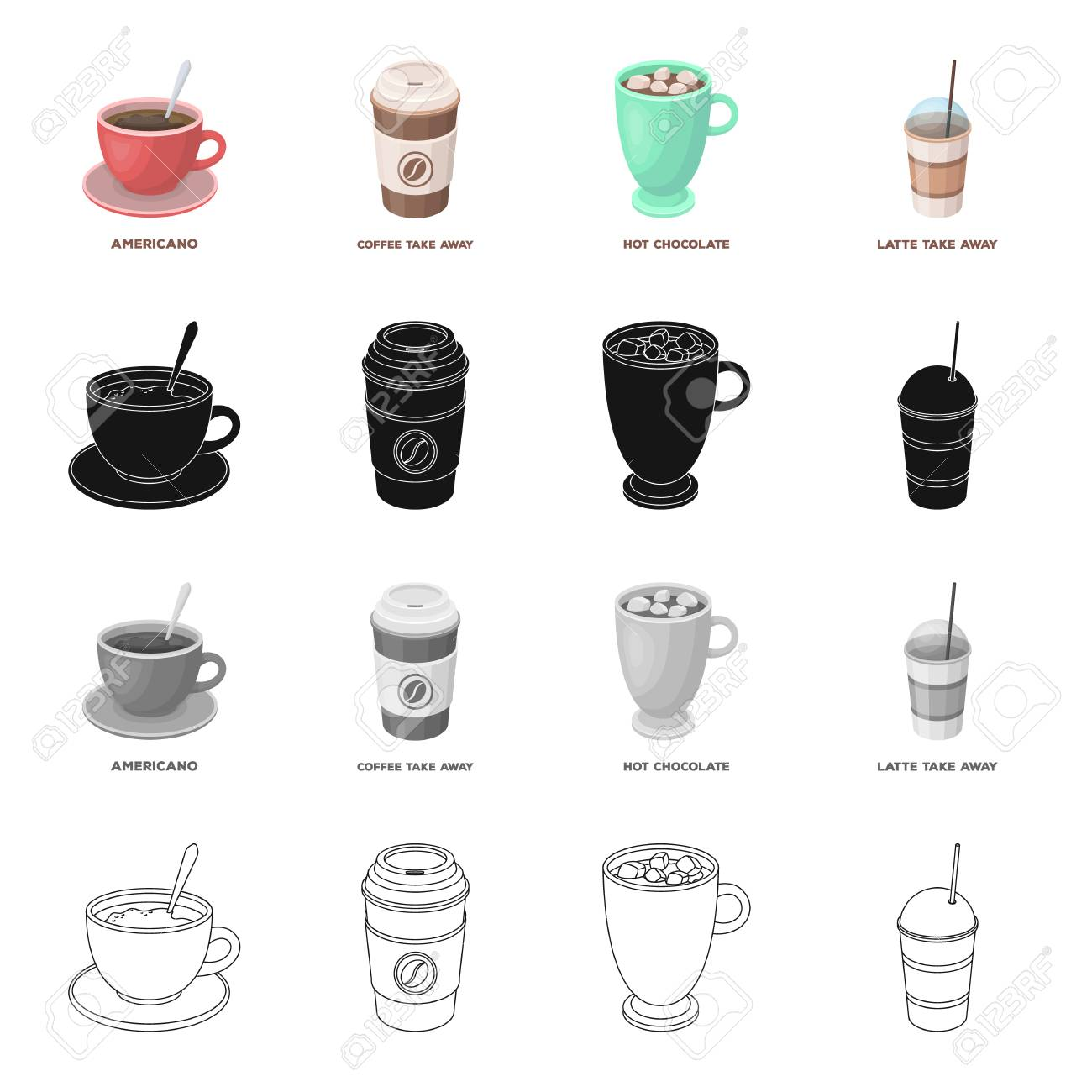 Crockery Kitchen Sets And Other Web Icon In Cartoon Style