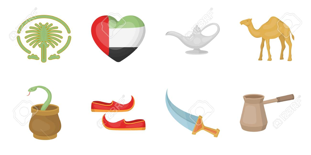 Country United Arab Emirates Icons In Set Collection For Design