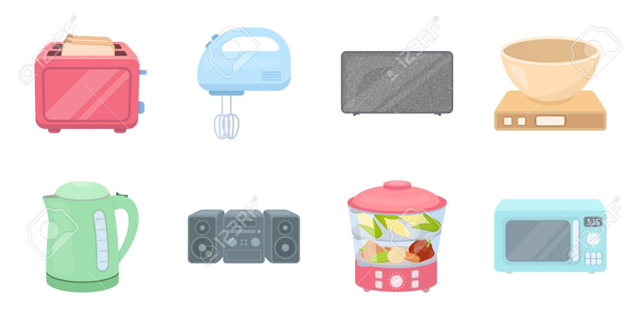 Types Of Household Appliances Icons In Set Collection For Design ...