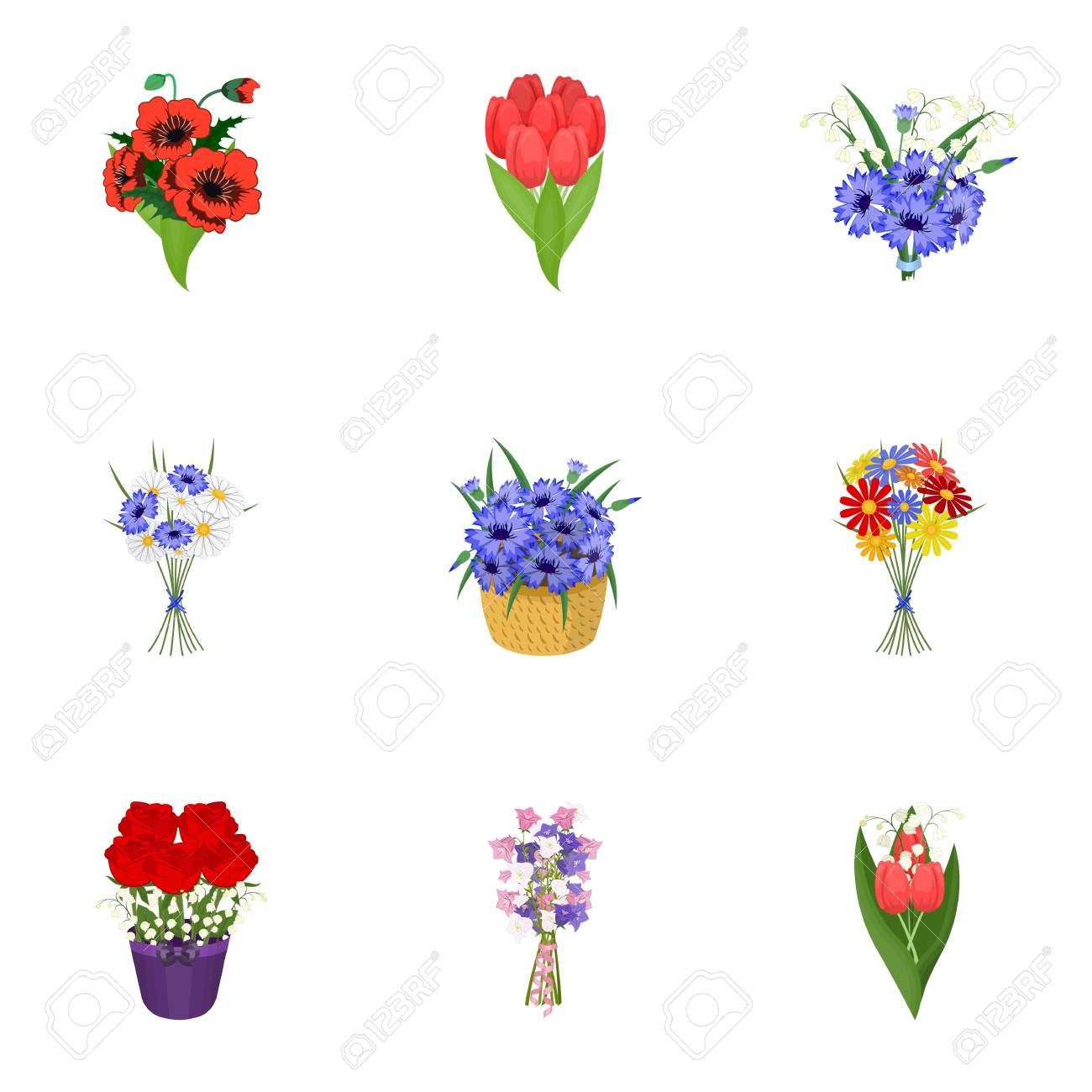 A bouquet of fresh flowers cartoon icons in set collection for a bouquet of fresh flowers cartoon icons in set collection for design various bouquets vector izmirmasajfo Choice Image