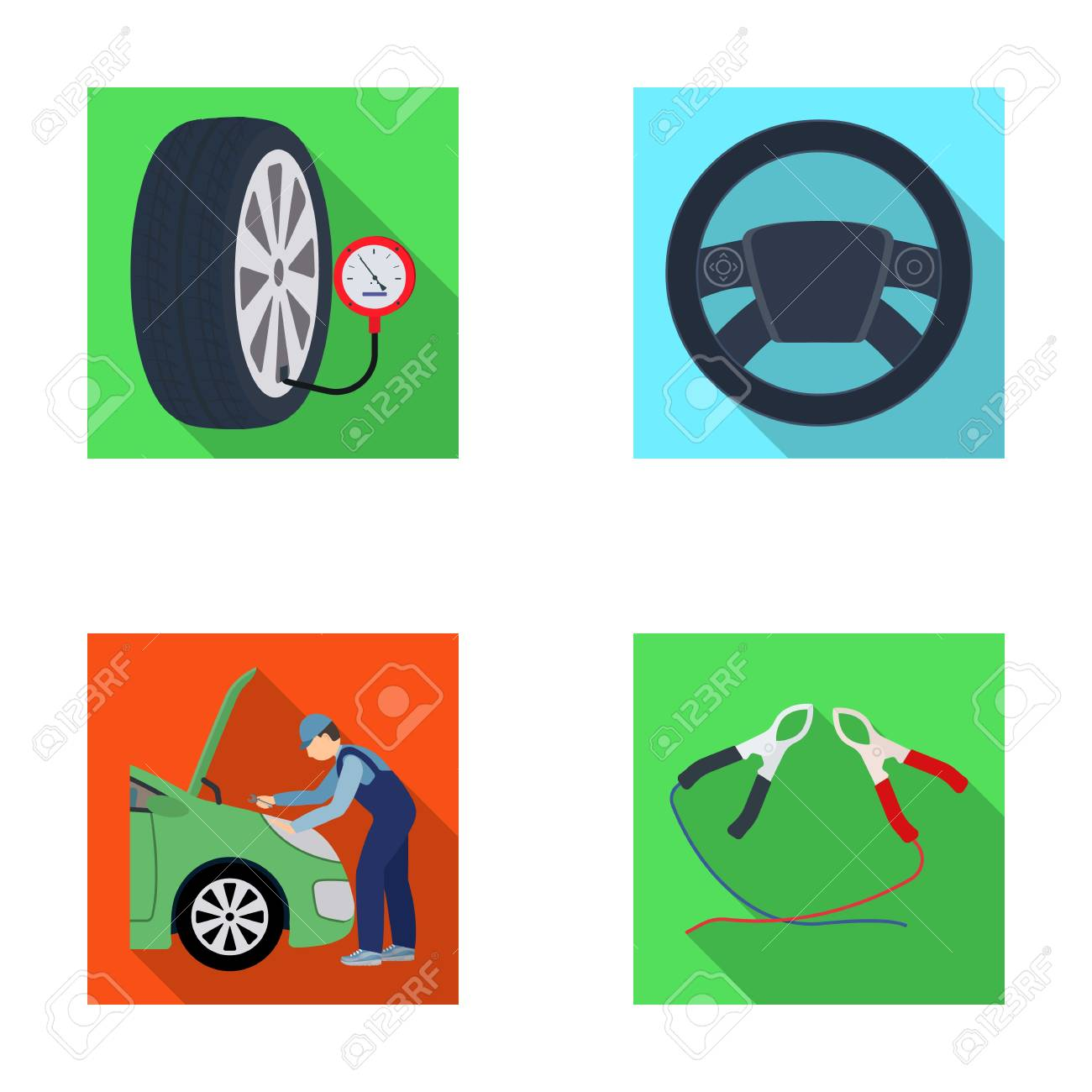 engine adjustment steering wheel clamp and wheel flat icons