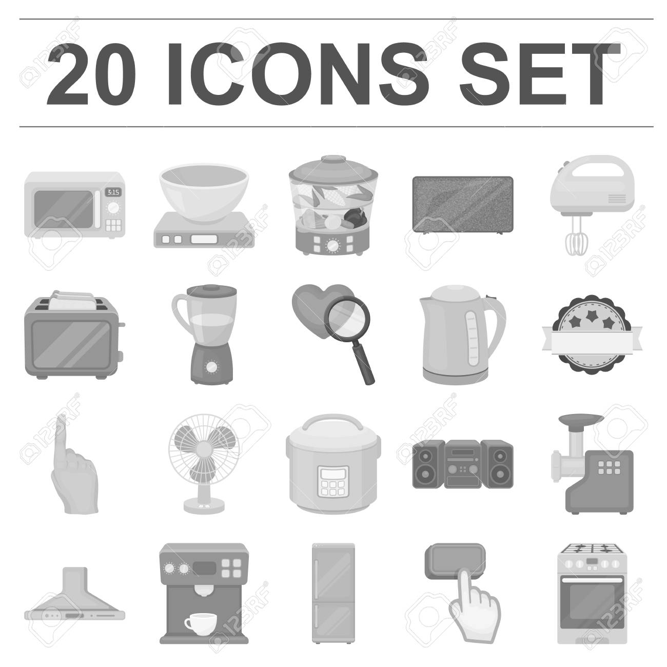 Types Of Household Appliances Monochrome Icons In Set Collection ...