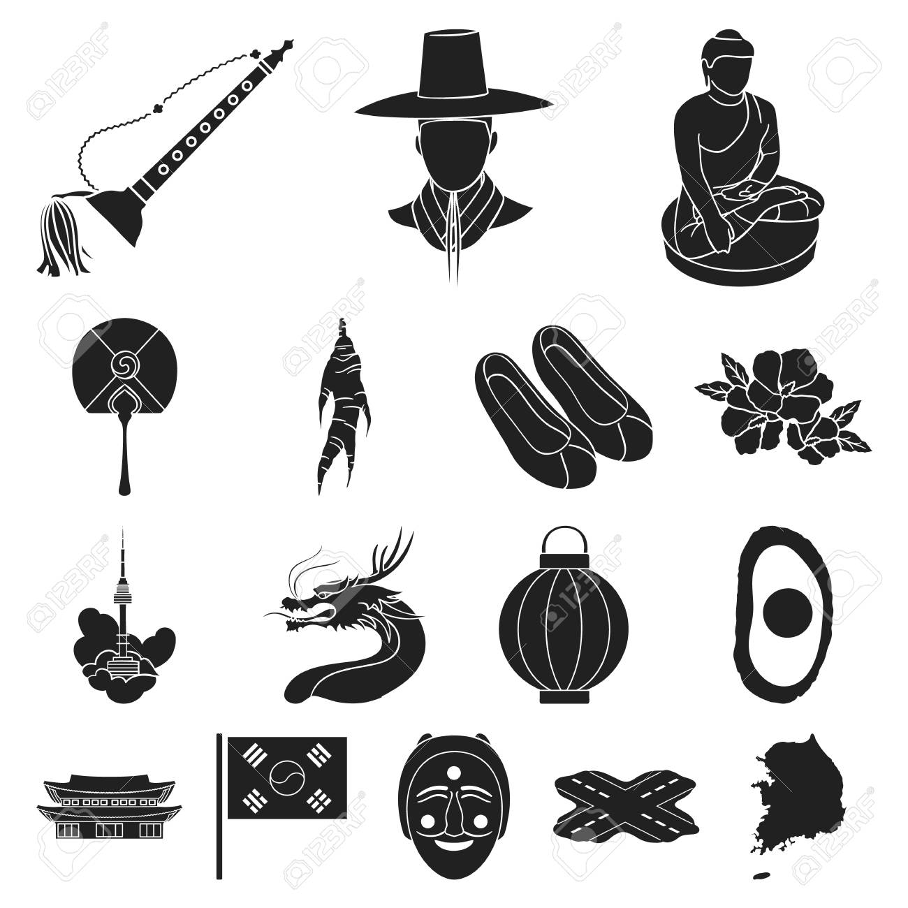 Country South Korea black icons in set collection for design.Travel and attraction vector symbol stock web illustration. - 93162093