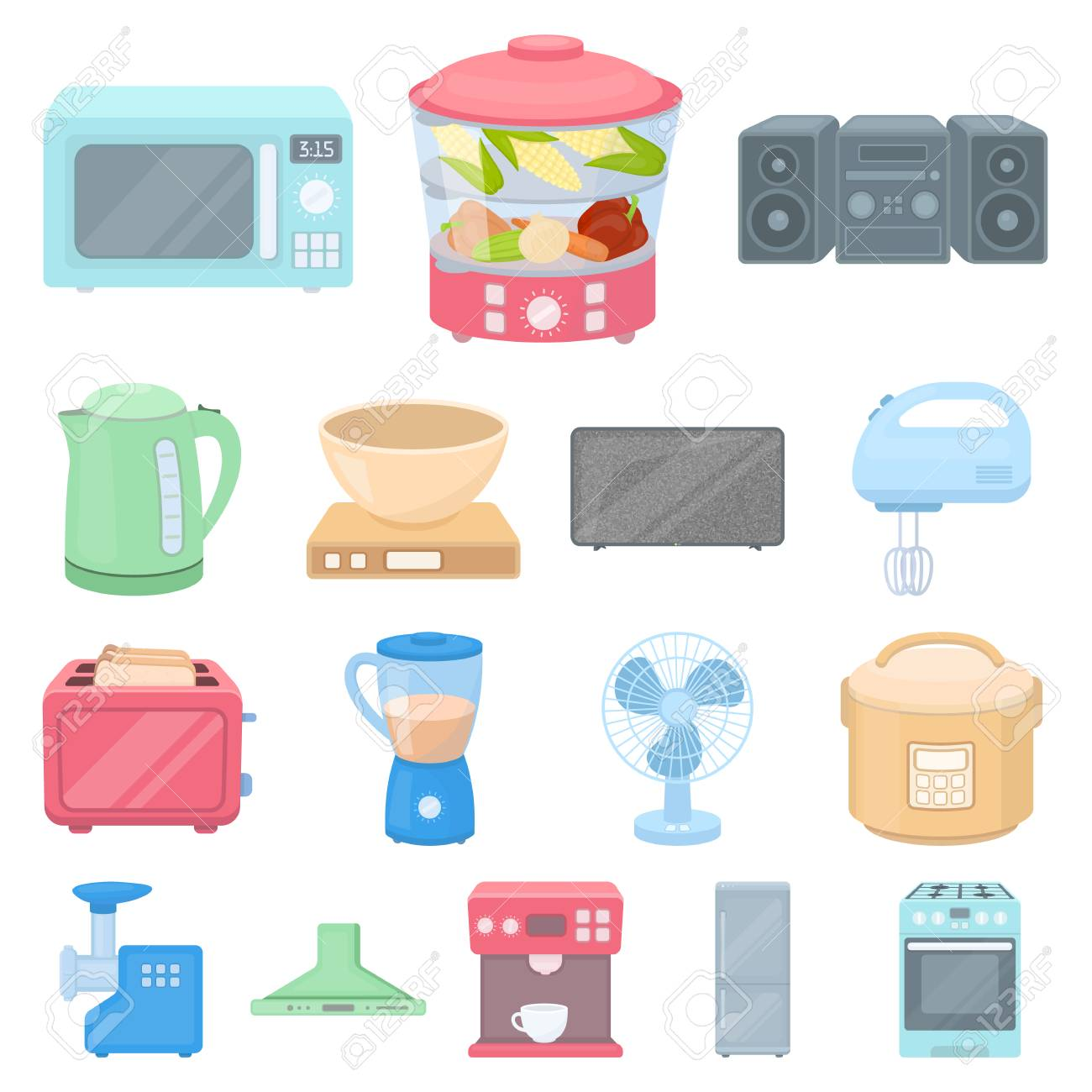 Types Of Household Appliances Cartoon Icons In Set Collection ...