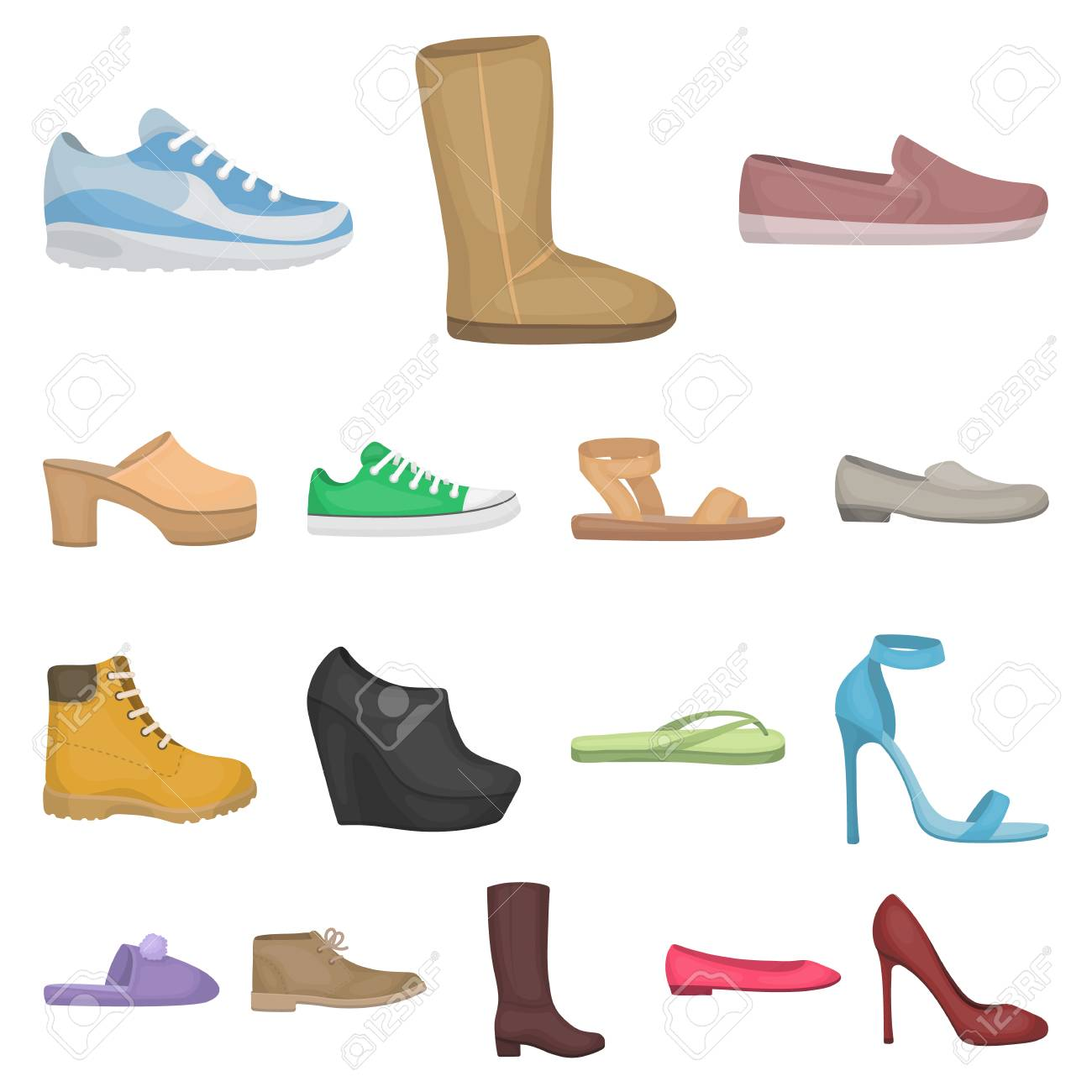 0c07cc5d7918 A variety of shoes cartoon icons in set collection for design. Boot,  sneakers vector