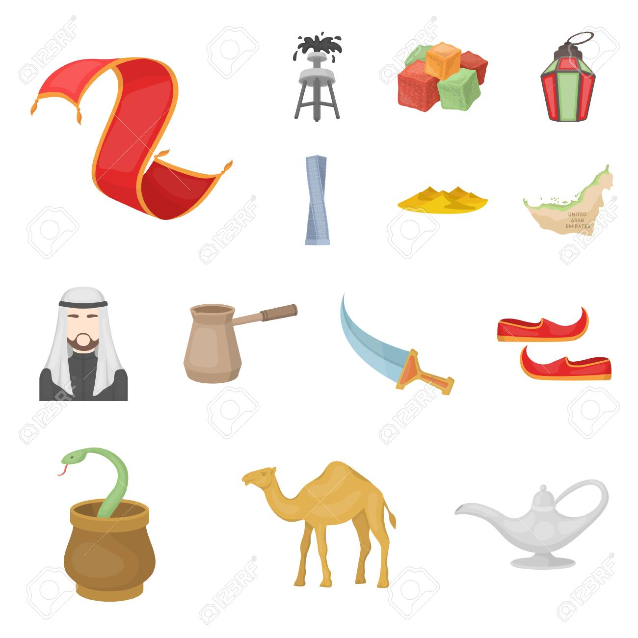 Country United Arab Emirates Cartoon Icons In Set Collection