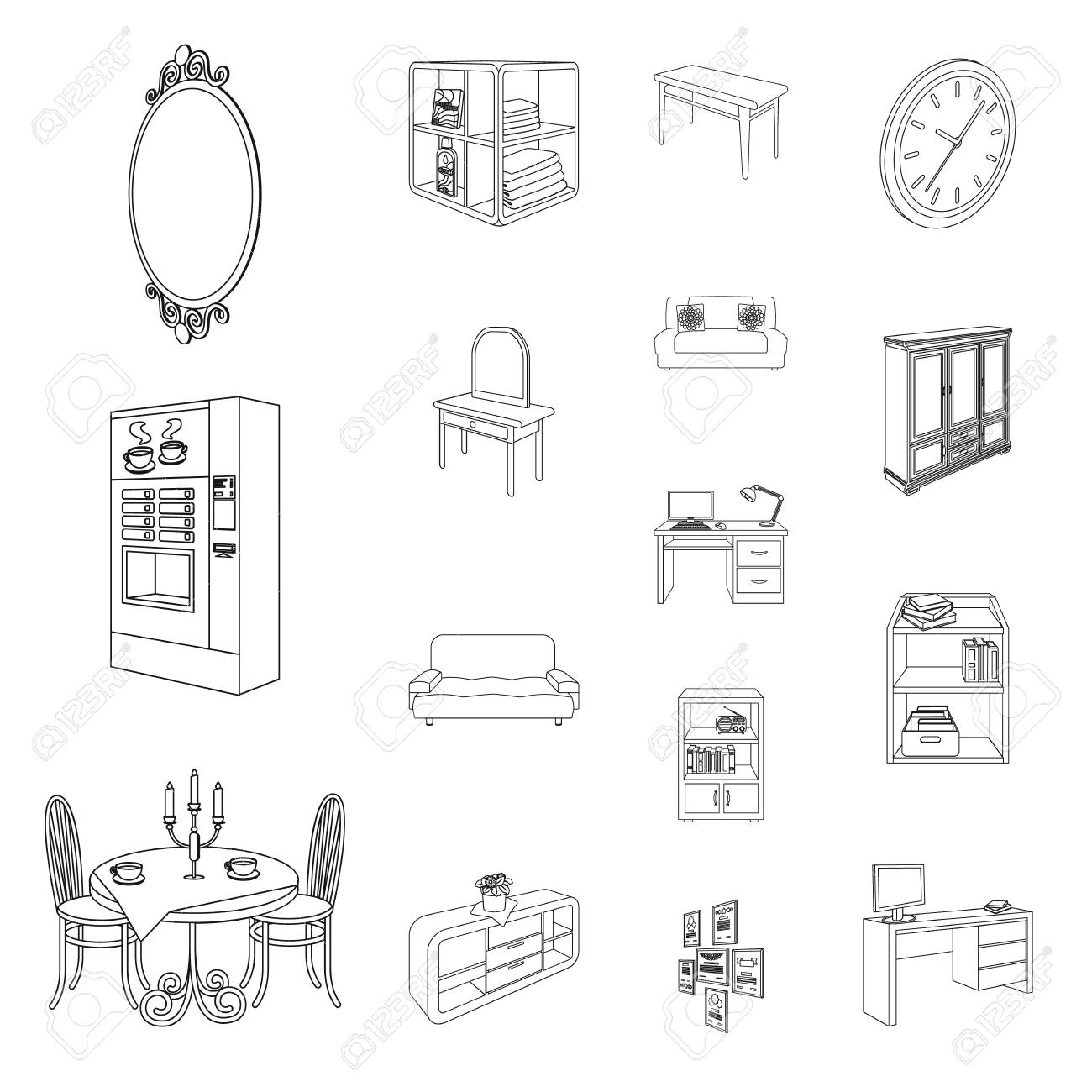Furniture And Interior Outline Icons In Set Collection For Design