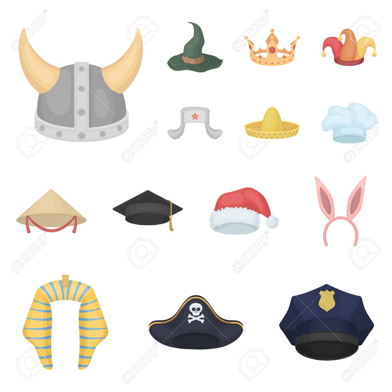 Different kinds of hats cartoon icons in set collection for design.Headdress  vector symbol stock 5984969e9443