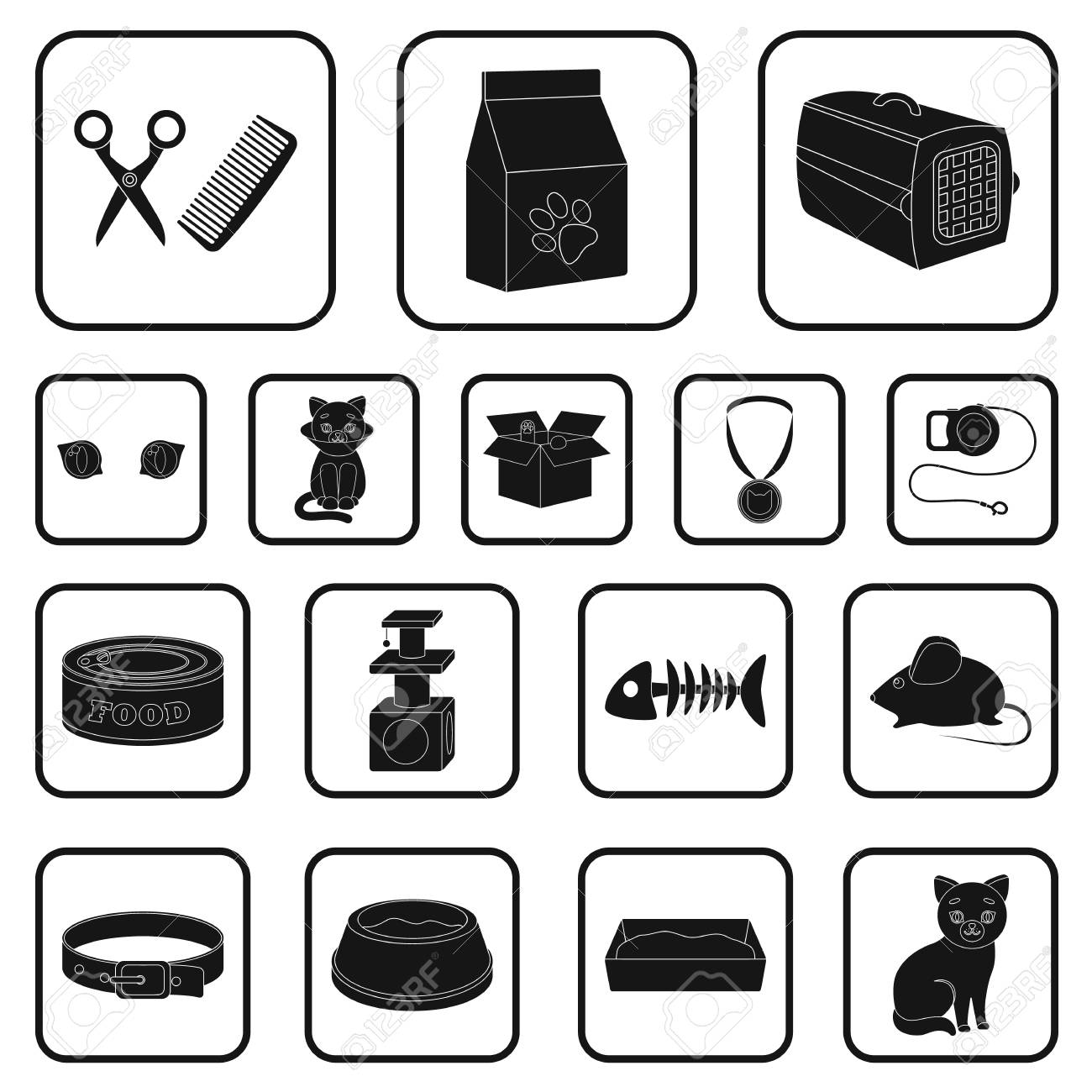 An Animal Cat Black Icons In Set Collection For Design Caring