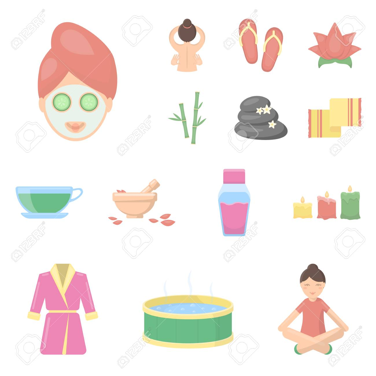 225a3ec7bfc Spa salon and equipment cartoon icons in set collection for design...